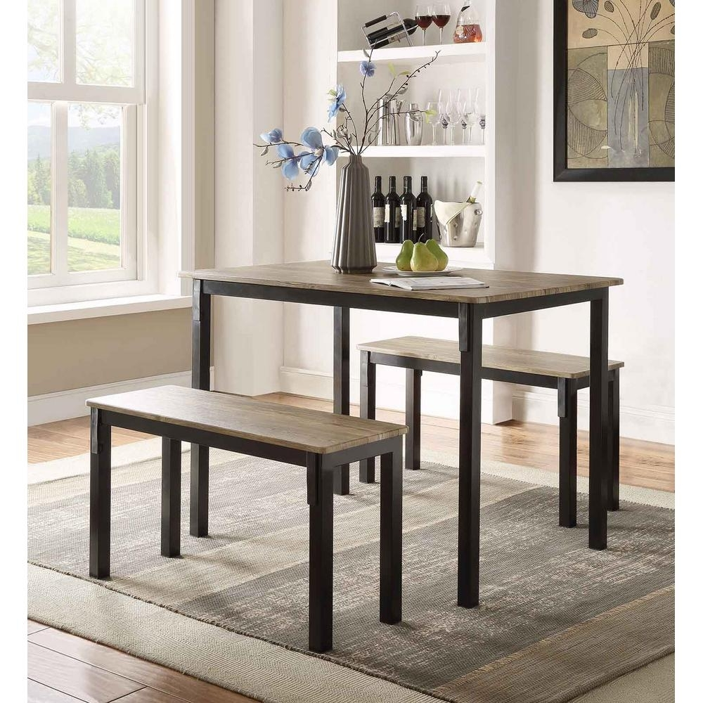 4D Concepts Boltzero 3-Piece Walnut And Black Dining Set-159356 with Newest Dining Tables And 2 Benches