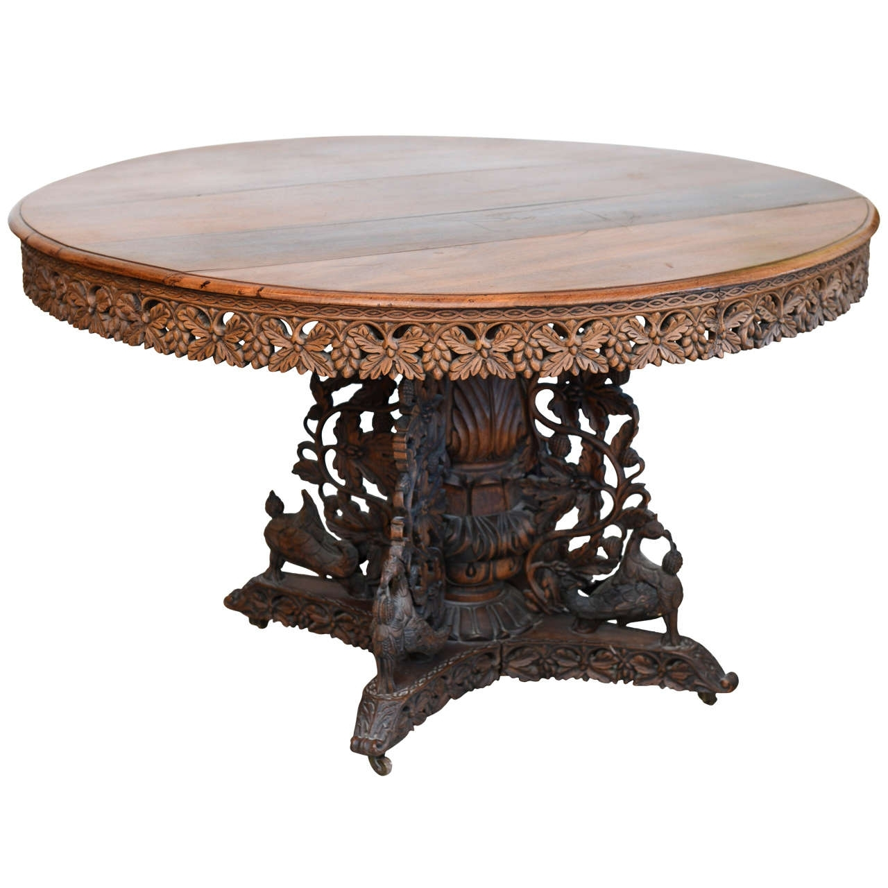 5. Anglo Indian Teak And Padouk Center Dining Table For Sale with Well-liked Indian Dining Room Furniture