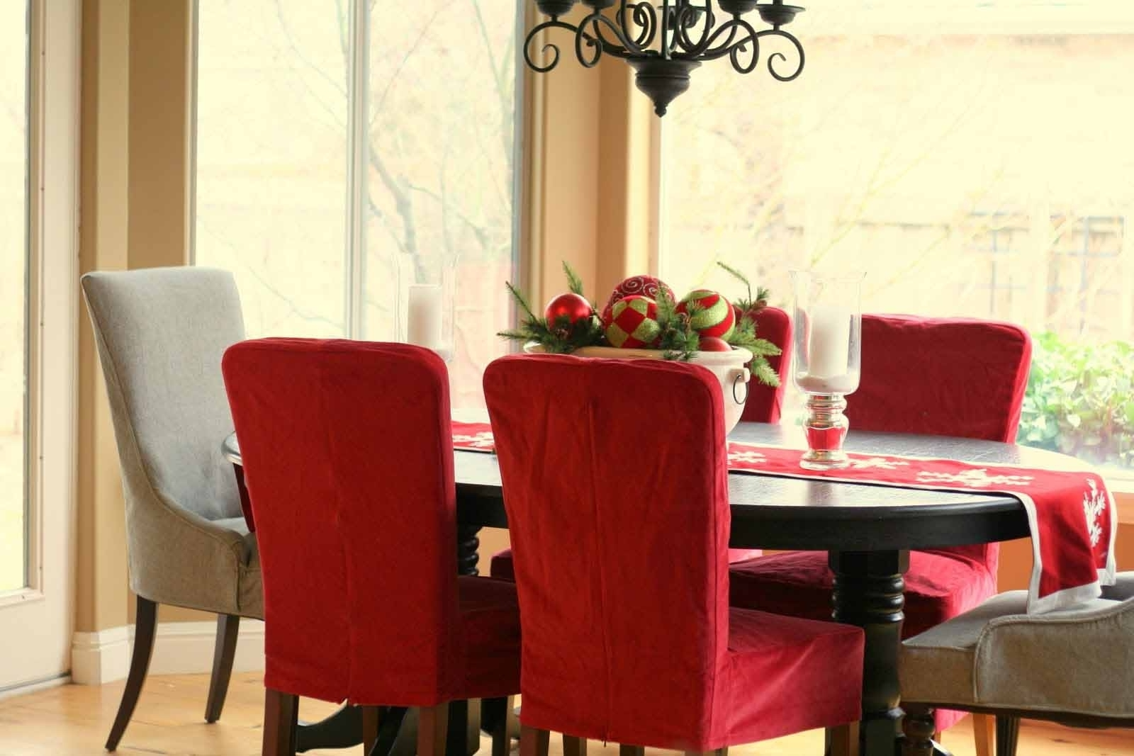 5. Christmas Ribbons Dining Room Chair Covers. pertaining to Trendy Red Dining Tables And Chairs