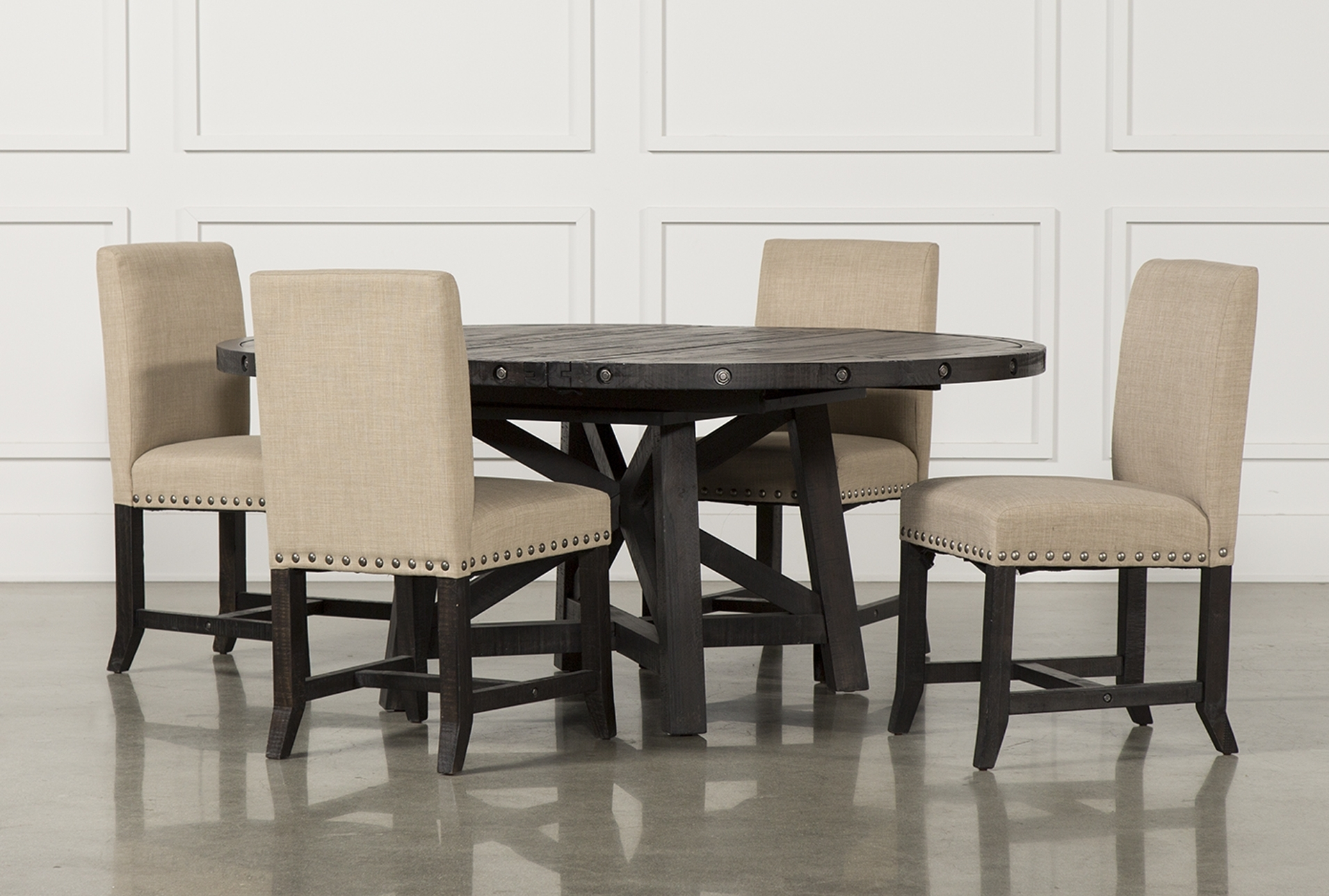 5. Jaxon 5 Piece Round Dining Set W Upholstered Chairs Qty 1 Has intended for Famous Jaxon Grey 6 Piece Rectangle Extension Dining Sets With Bench & Wood Chairs