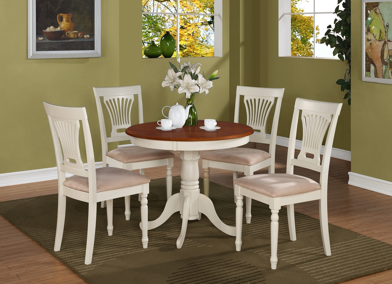 5 Pc Round Small Table Kitchen Table And 4 Padded Chairs Buttermilk for Most Recently Released Small Round Dining Table With 4 Chairs