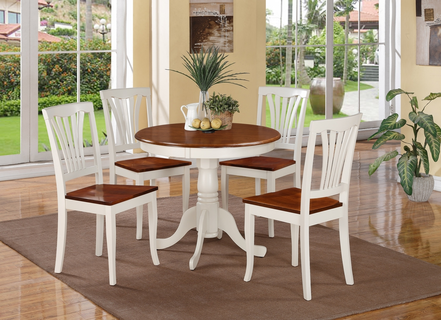 5 Pc Round Small Table Kitchen Table And 4 Wood Chairs Buttermilk Finish throughout Most Popular Small Dining Sets