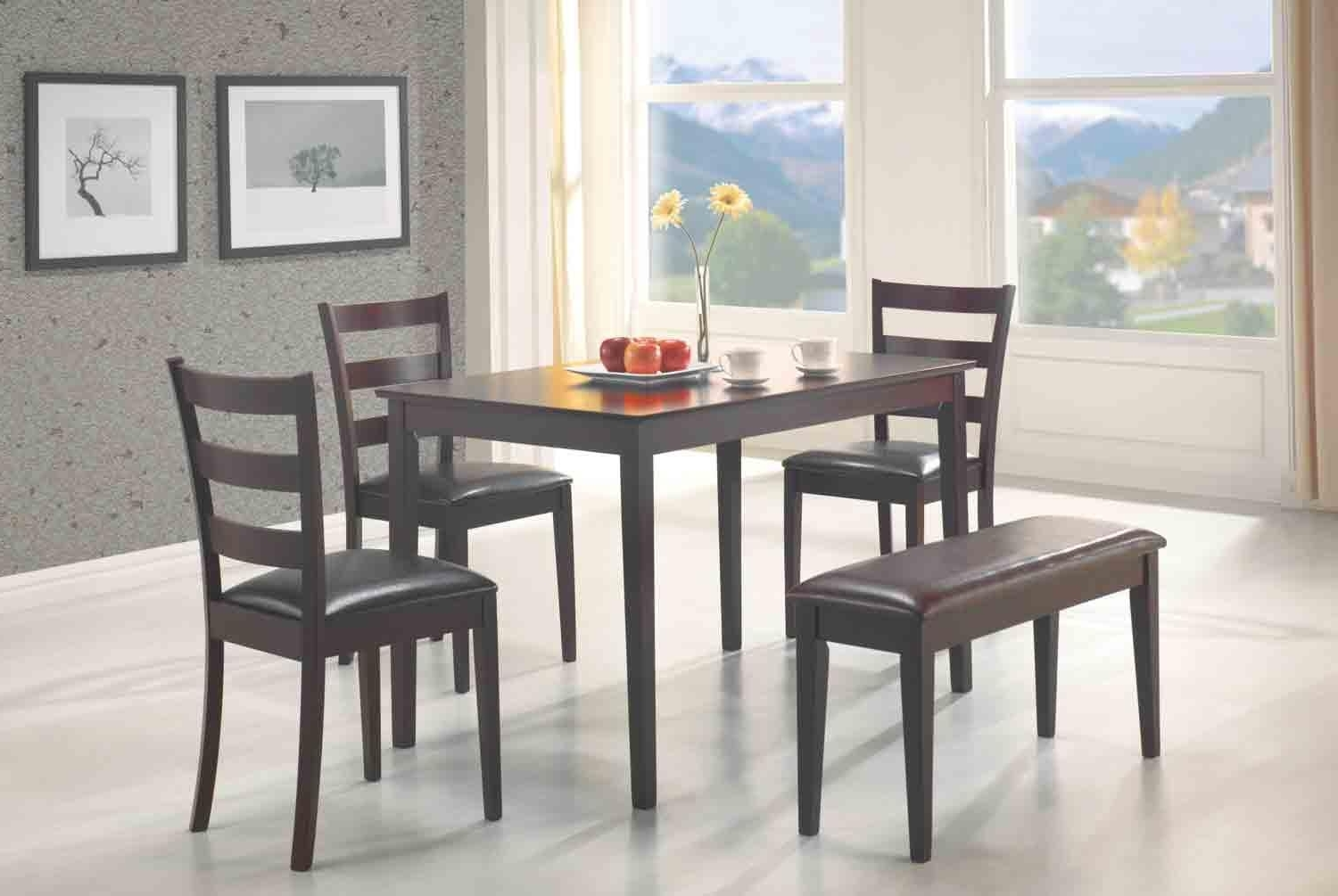 5 Pcs Dining Set Table, 3 Chairs And Bench Dc Furniture Within Favorite Small Dining Tables And Bench Sets (View 2 of 25)