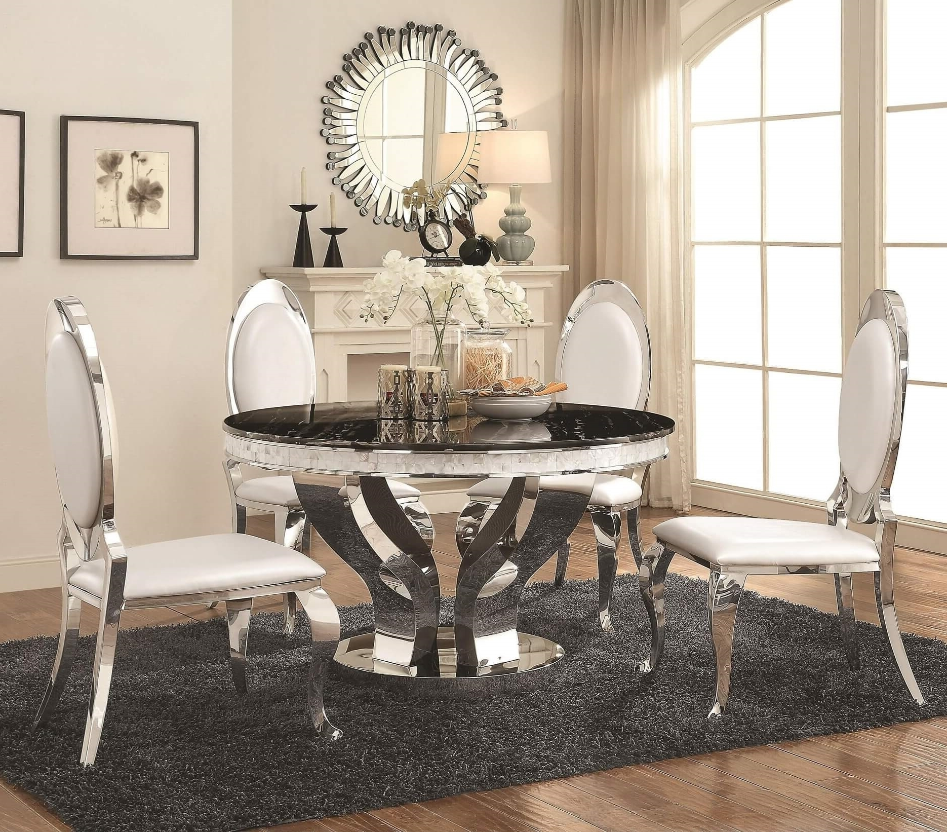 5 Piece Anchorage Chrome Round Dining Set - Usa Warehouse Furniture with Most Recent Valencia 5 Piece Round Dining Sets With Uph Seat Side Chairs