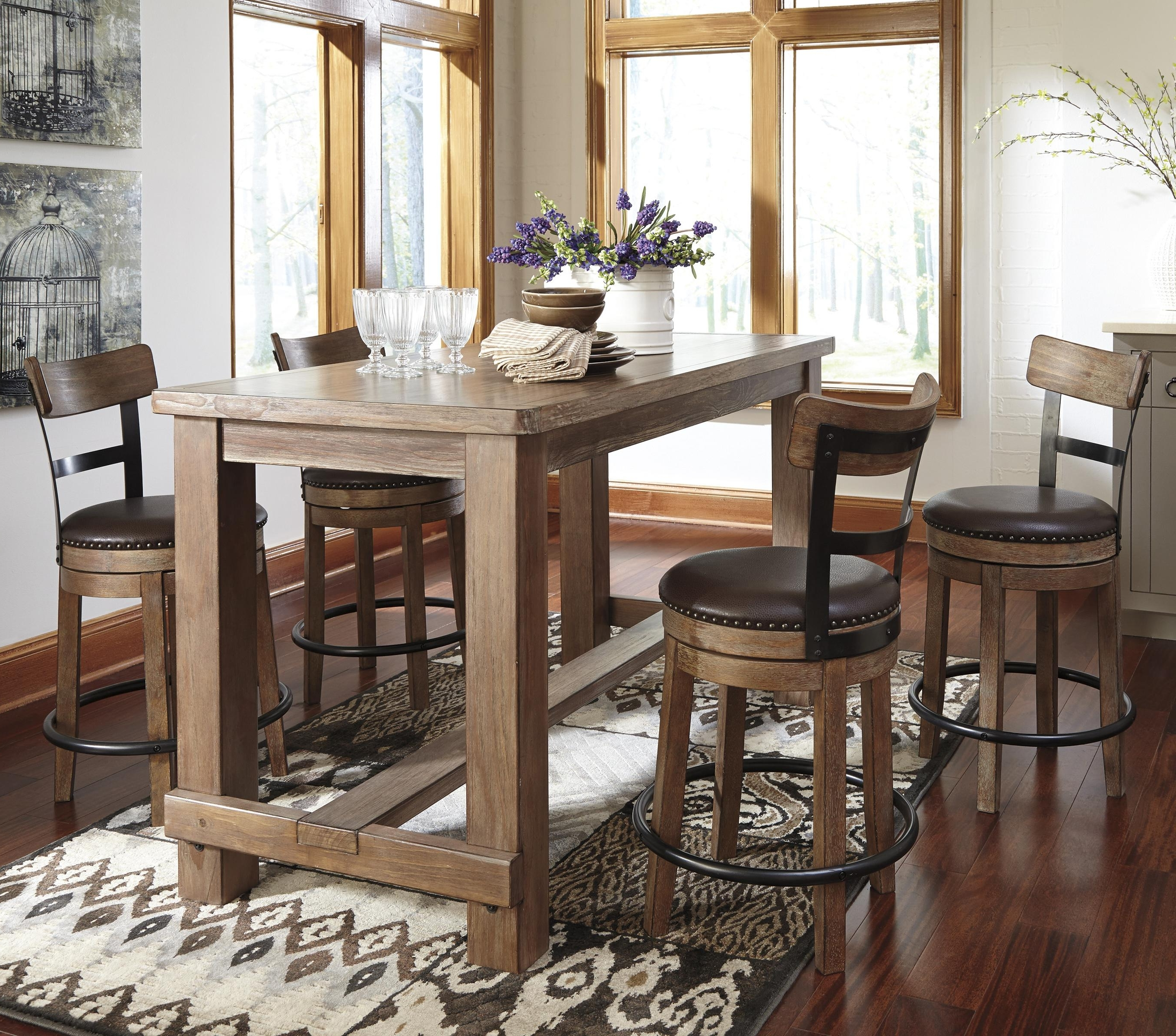 5 Piece Counter Table Set With Upholstered Swivel Stools With Wood Inside Famous Hyland 5 Piece Counter Sets With Stools (View 9 of 25)
