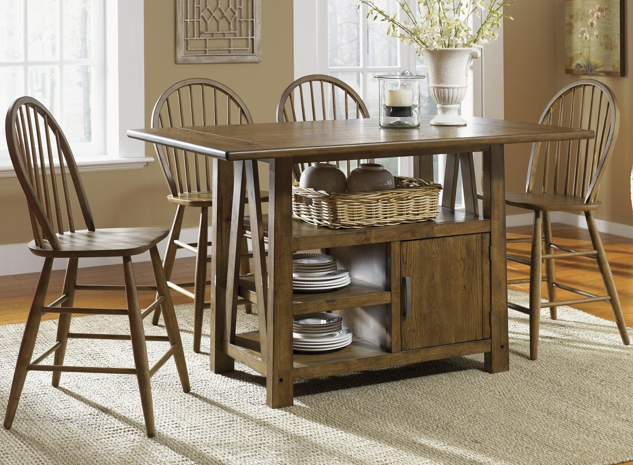 5 Piece Island Pub Table And Windsor Back Counter Chairs Set In Preferred Market 5 Piece Counter Sets (View 4 of 25)