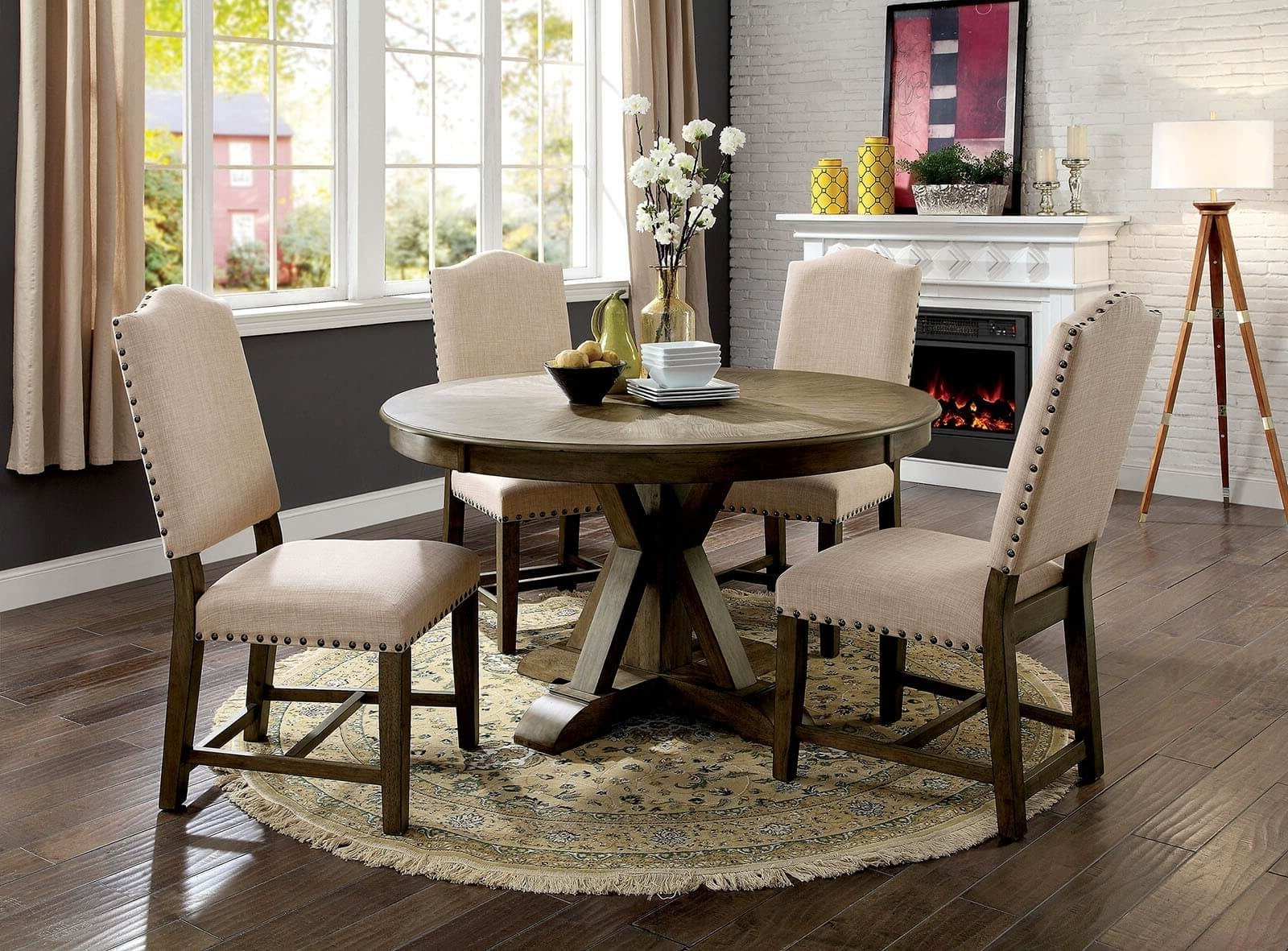 5 Piece Julia Round Dining Set Light Oak Finish - Usa Warehouse pertaining to Most Recently Released Valencia 5 Piece Round Dining Sets With Uph Seat Side Chairs