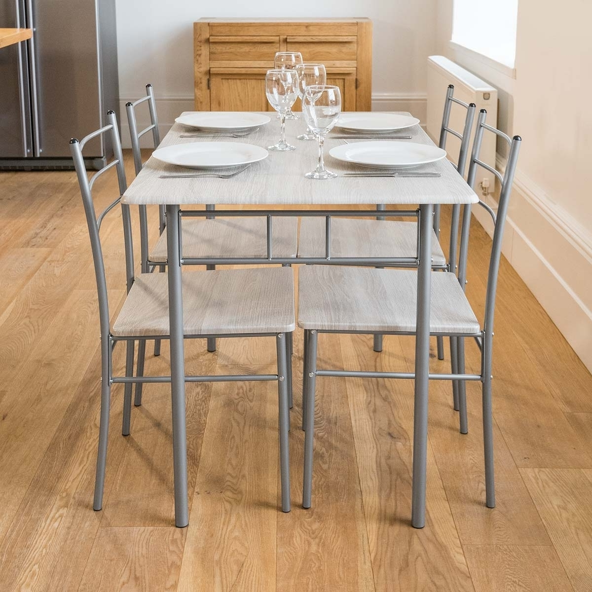 5 Piece Modern Dining Table And 4 Chairs Set Textured Wood Effect Pertaining To 2017 Modern Dining Table And Chairs (Gallery 17 of 25)