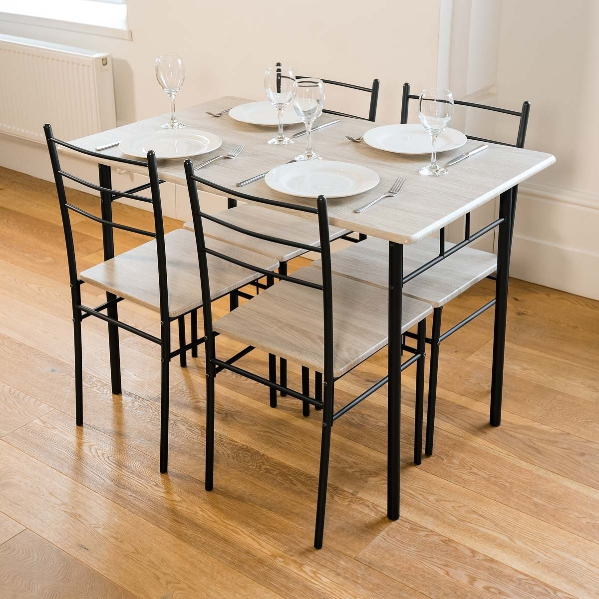 5 Piece Modern Dining Table And 4 Chairs Set Textured Wood Effect Regarding Most Up To Date Modern Dining Sets (View 22 of 25)