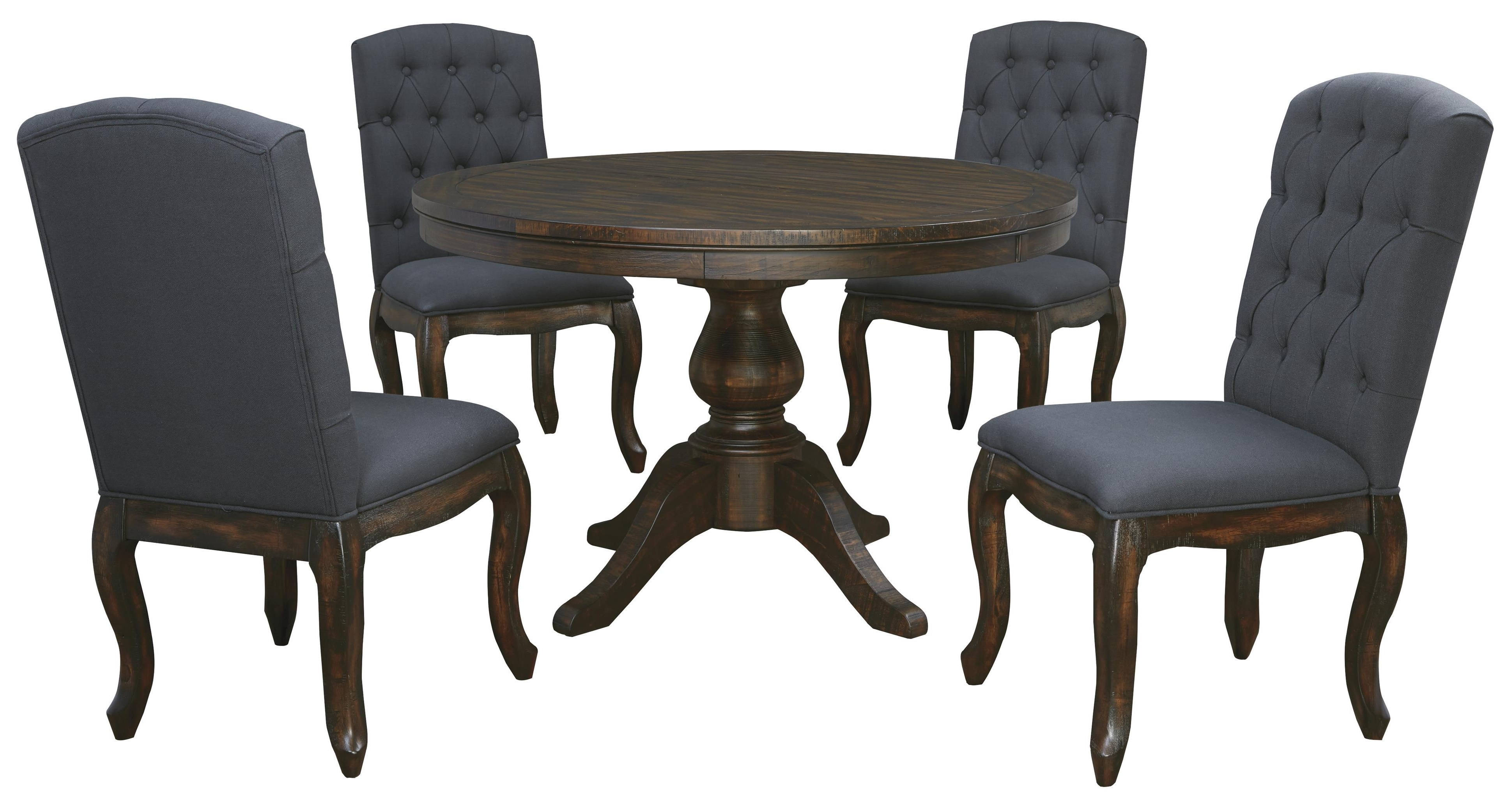 5-Piece Round Dining Table Set With Upholstered Side Chairs within Widely used Craftsman 9 Piece Extension Dining Sets With Uph Side Chairs