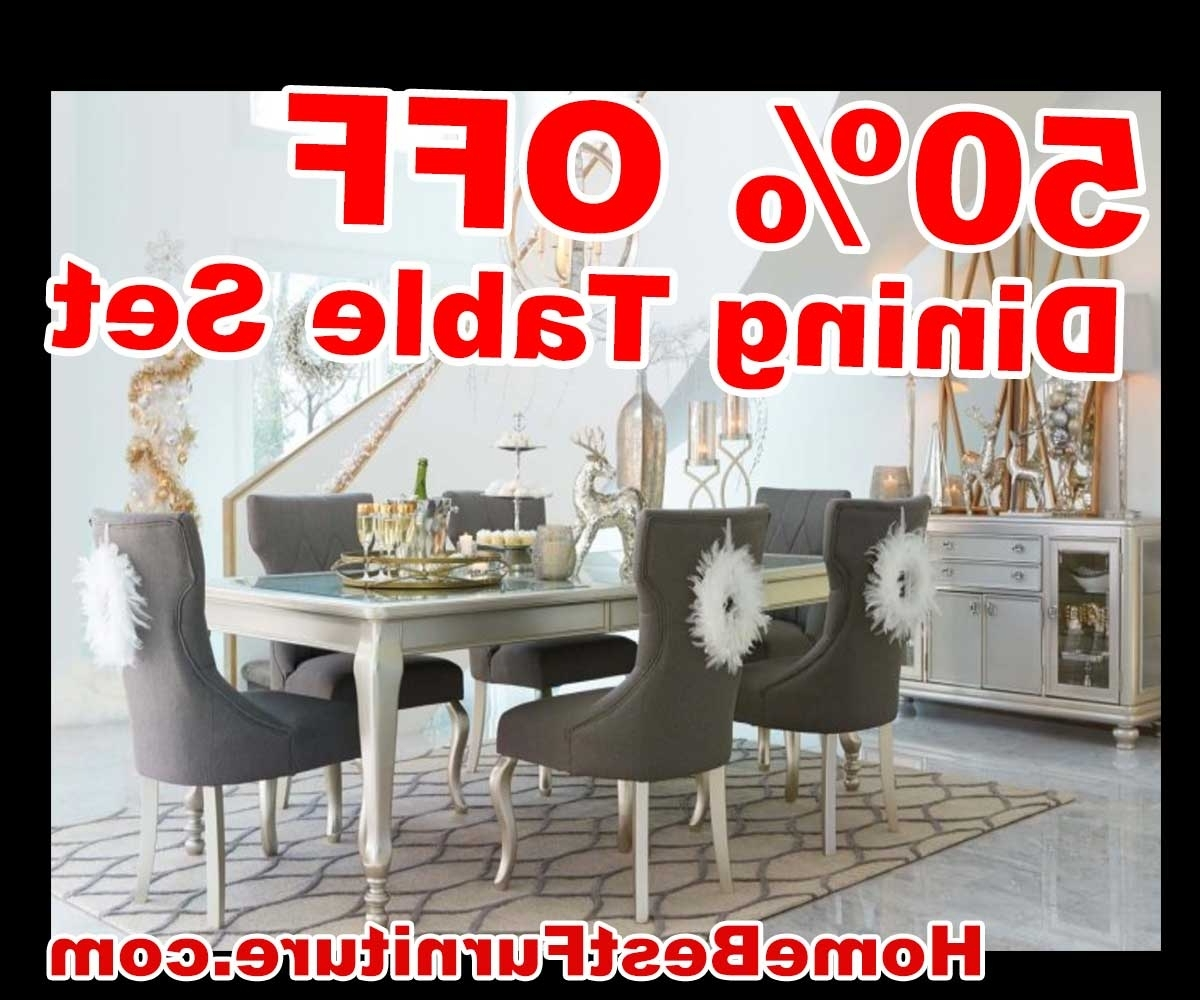 50 Percent Off Discount Silver Coralayne 5-Piece Dining Room Sets intended for Newest Cora 5 Piece Dining Sets