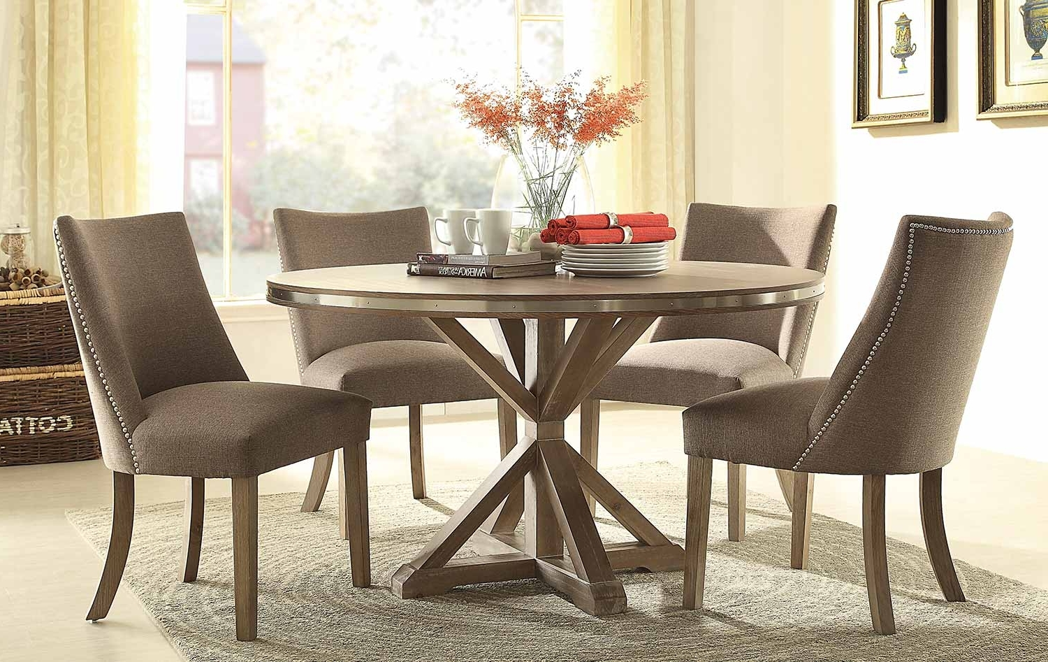 52 54 Round Dining Table Set, Espresso 54Quot; Round Pedestal Dining Intended For Latest Caira Black Round Dining Tables (View 2 of 25)