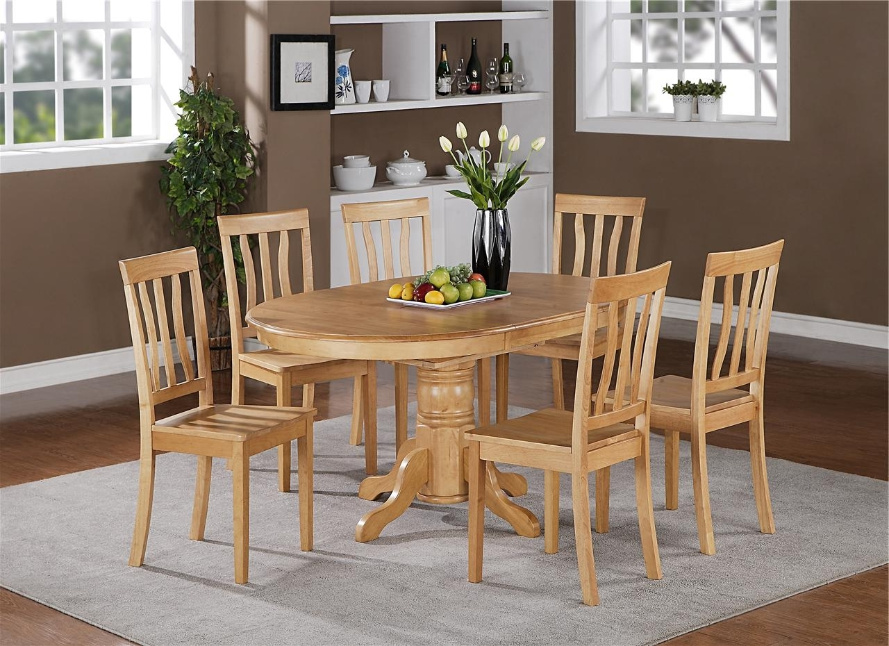 5Pc Oval Dinette Kitchen Dining Set Table With 4 Wood Seat Chairs In With Regard To Popular Light Oak Dining Tables And 6 Chairs (View 1 of 25)