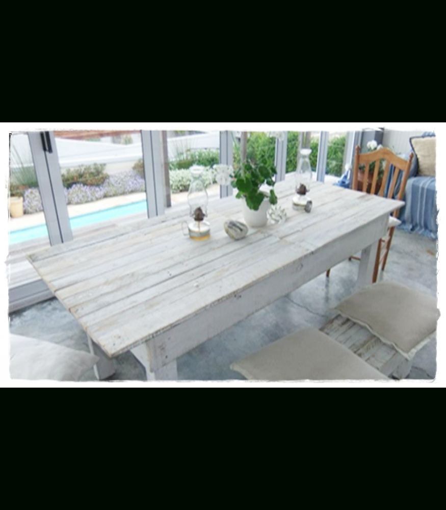 6-8 Seater White-Washed Pallet Wood Dining Table regarding Trendy White Dining Tables 8 Seater