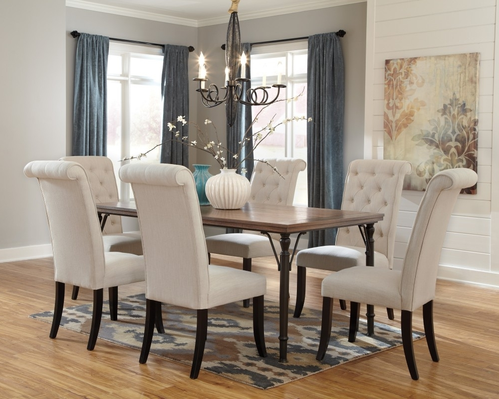 6 Chairs Dining Tables inside Best and Newest Tripton Rectangular Dining Room Table & 6 Uph Side Chairs