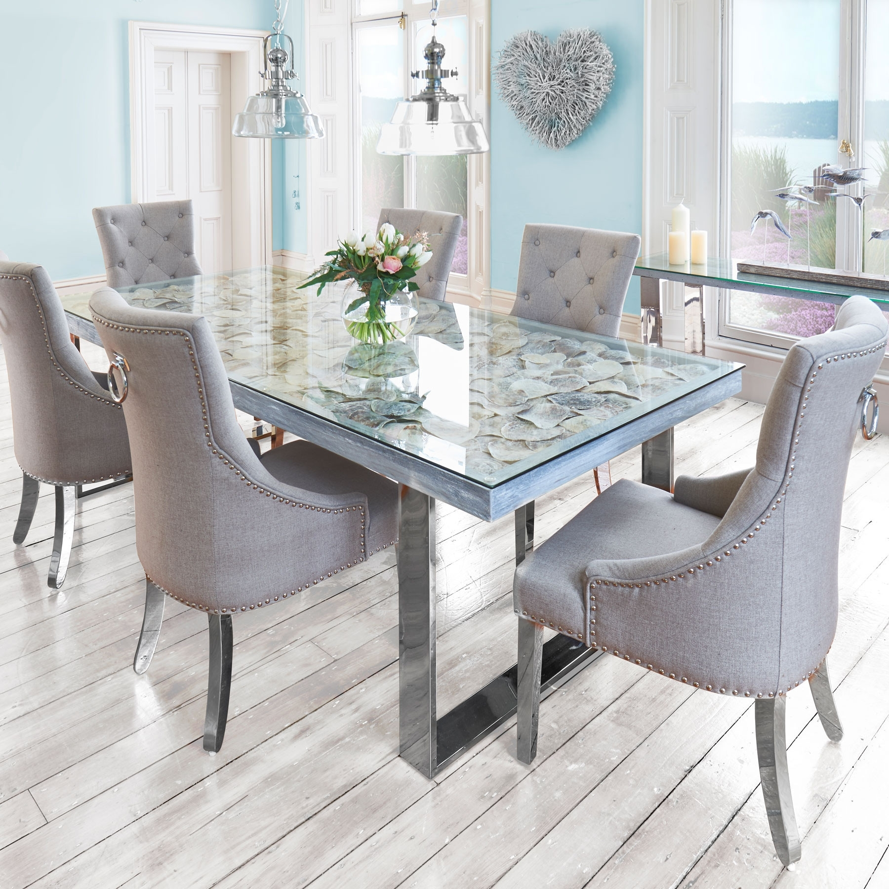 6 Chairs Dining Tables pertaining to Popular Sacramento Seashell Top Dining Table & 6 Chairs
