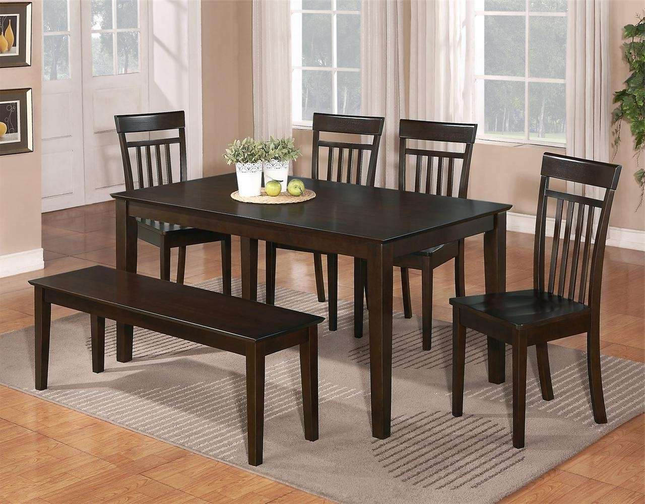 6 Pc Dinette Kitchen Dining Room Set Table W/4 Wood Chair, Dining With Trendy Small Dining Tables And Bench Sets (View 3 of 25)