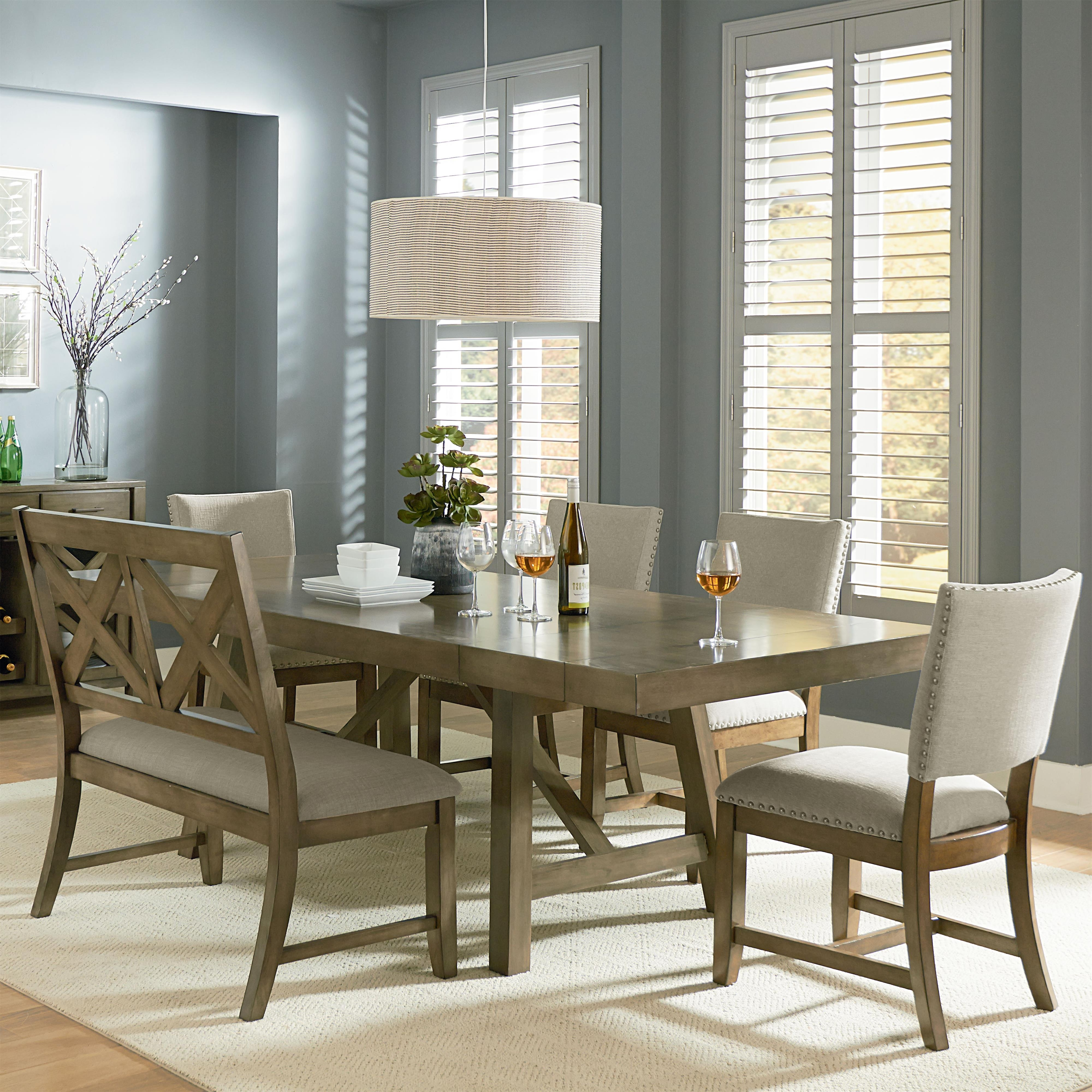 6 Piece Trestle Table Dining Set With Dining Benchstandard regarding Most Current Parquet 6 Piece Dining Sets