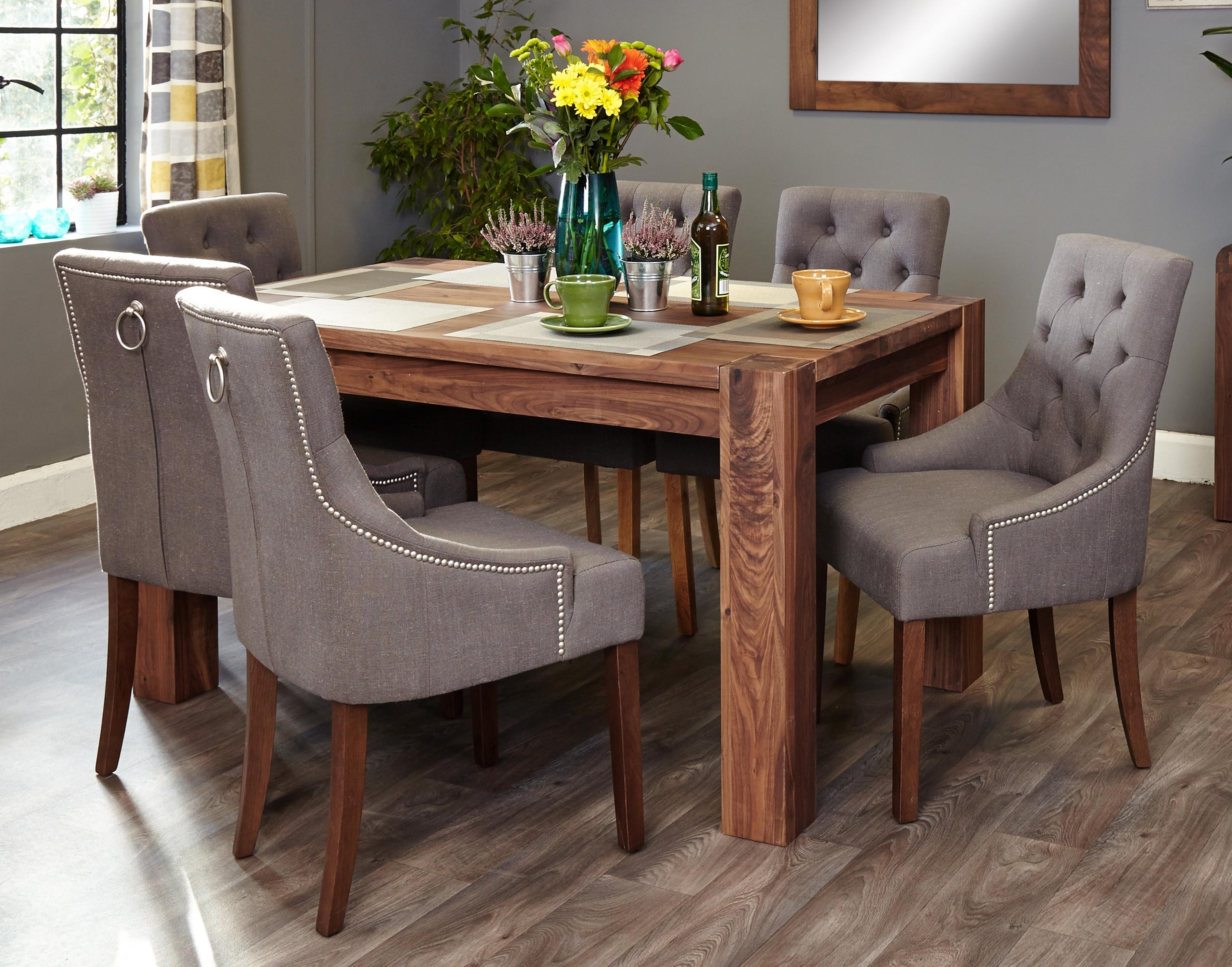 6 Seat Dining Table Sets For Well Known Mayan Walnut 6 Seater Dining Table Set (Accent) (Socdr04B Cdr03F) (View 2 of 25)