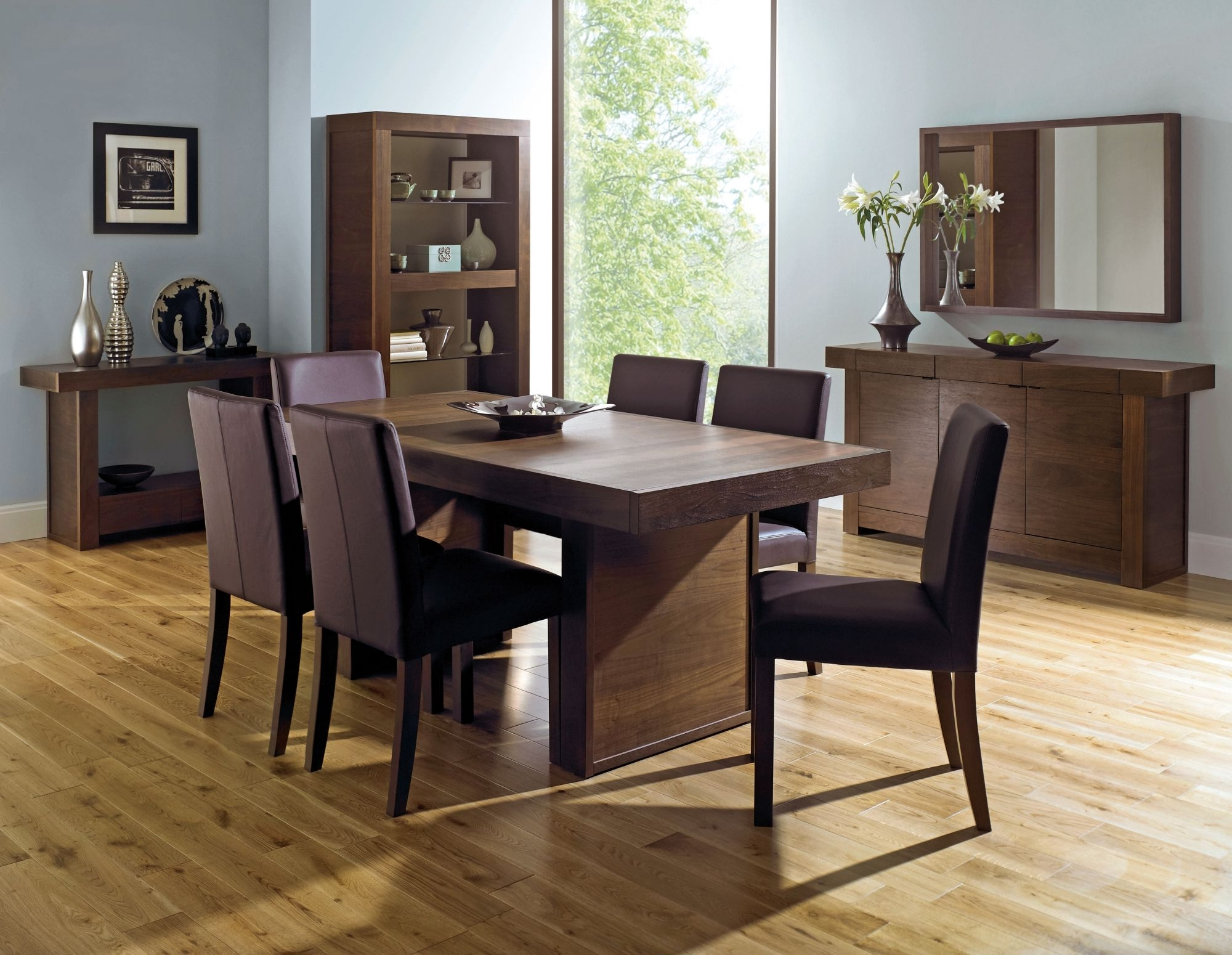 6 Seat Dining Tables Pertaining To Most Recent Bentley Designs Akita Walnut Panel Dining Table + 6 Square Back (View 8 of 25)