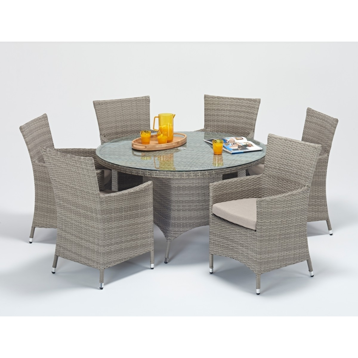 6 Seat Round Dining Tables Within Most Popular Rattan Set – Rustic 6 Seat Round Dining Set Wgf  (View 9 of 25)