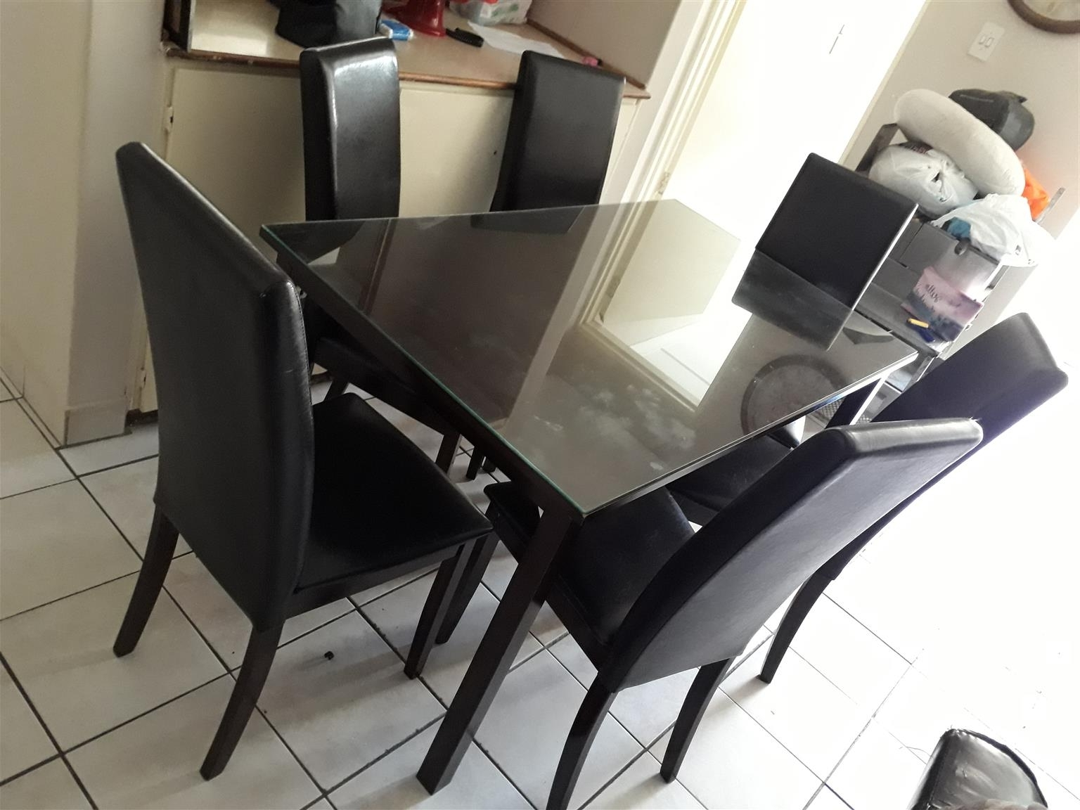 6 Seater Dining Table And 6 Chairs+Extra Glass Top Within 2017 Glass 6 Seater Dining Tables (View 15 of 25)