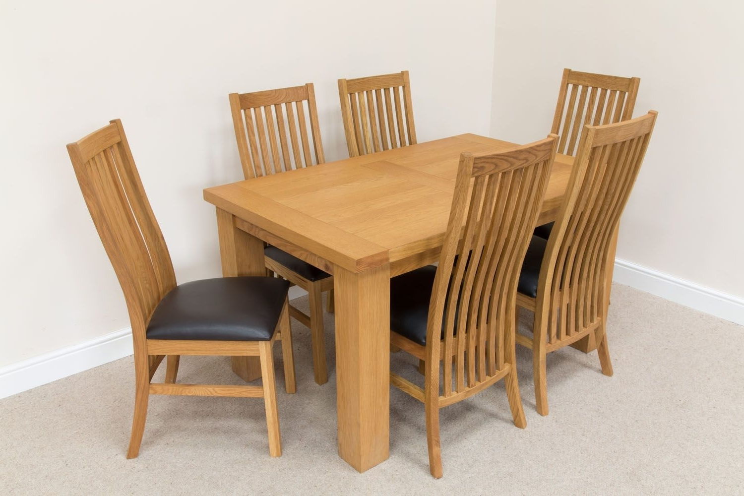 6 Seater Oak Dining Set Throughout Oak Dining Tables With 6 Chairs (Gallery 11 of 25)