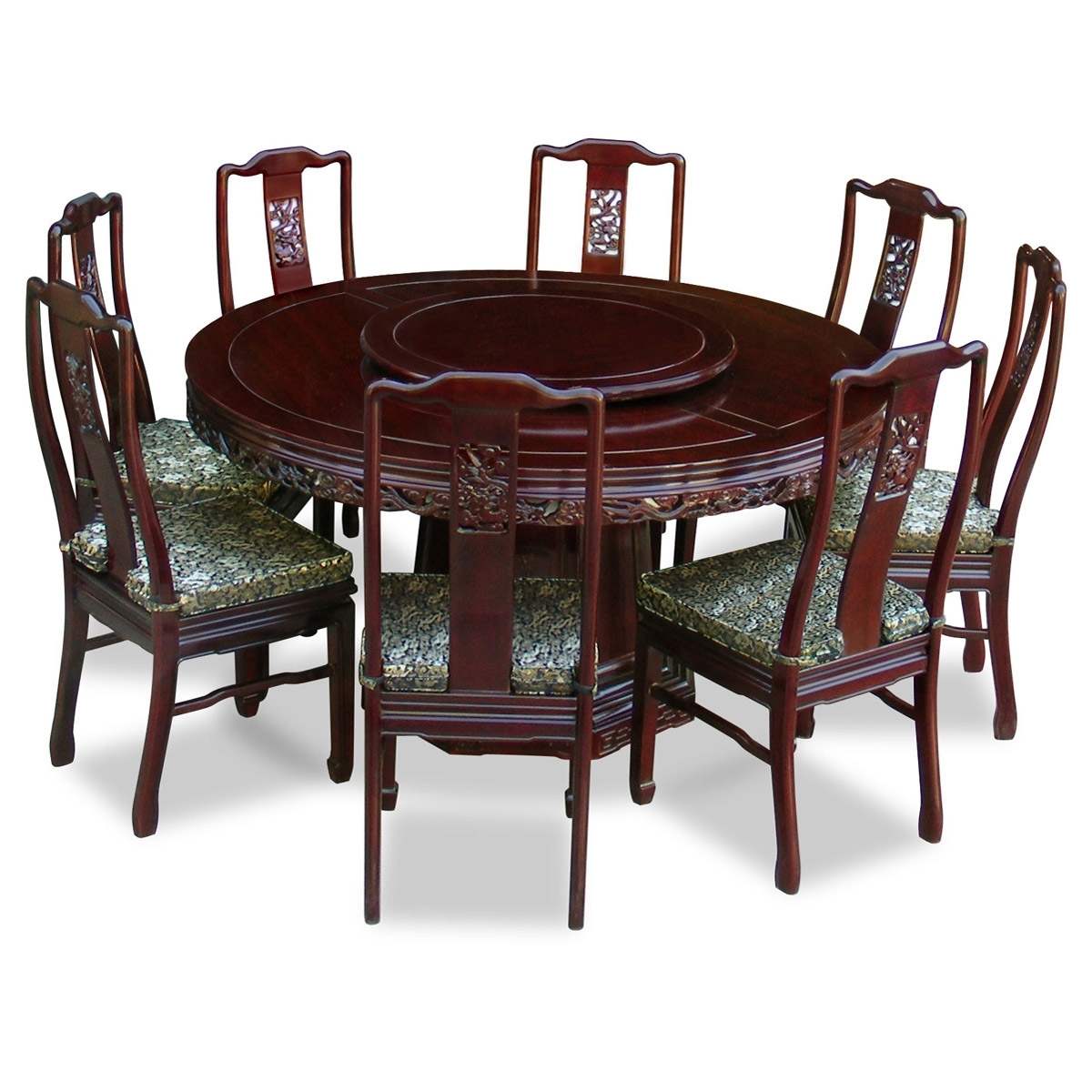 60In Rosewood Dragon Round Dining Table With 8 Chairs Inside Current Dining Tables With 8 Chairs (View 13 of 25)