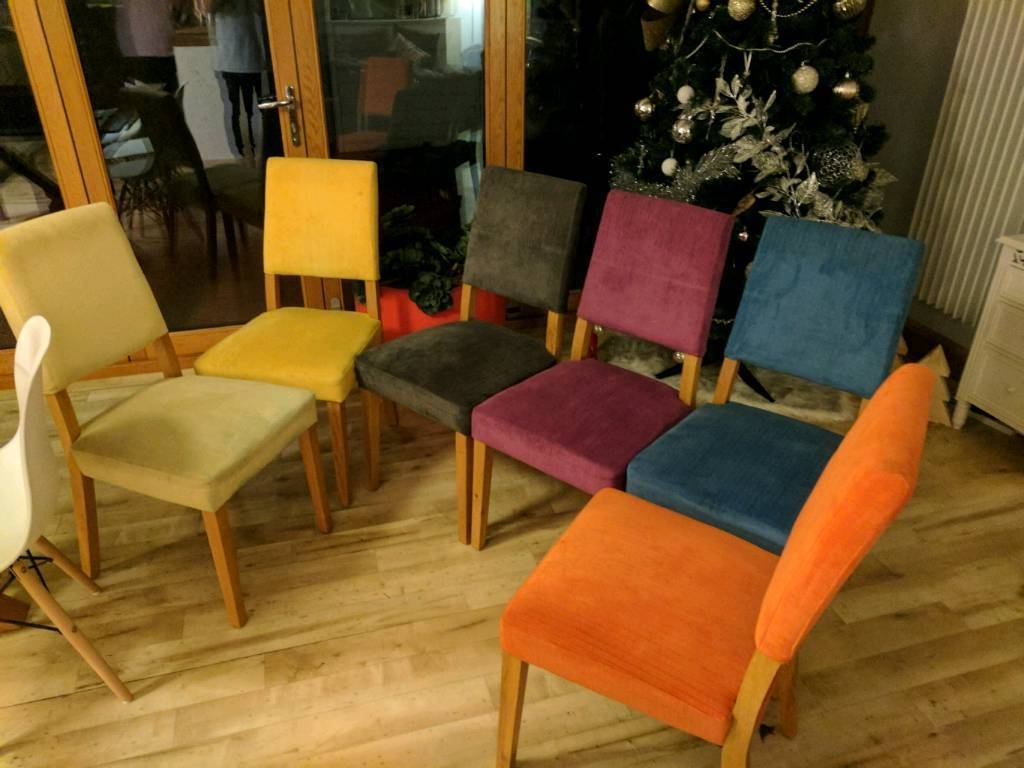"6X Mulit Coloured ""harveys Lagoona"" Fabric Dining Room Chairs."