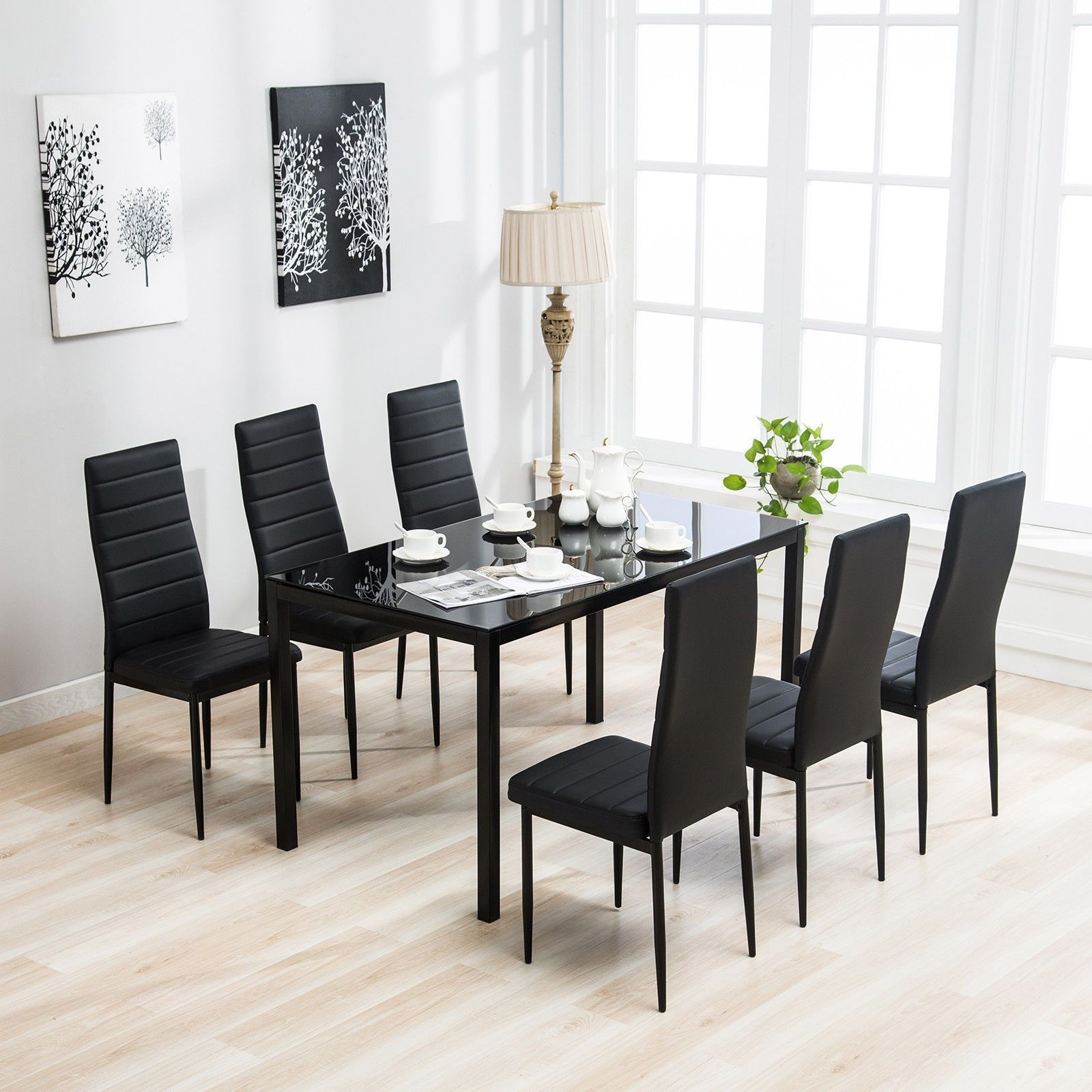 7 Piece Dining Table Set 6 Chairs Black Glass Metal Kitchen Room With Regard To Well Liked Round Black Glass Dining Tables And Chairs (View 25 of 25)