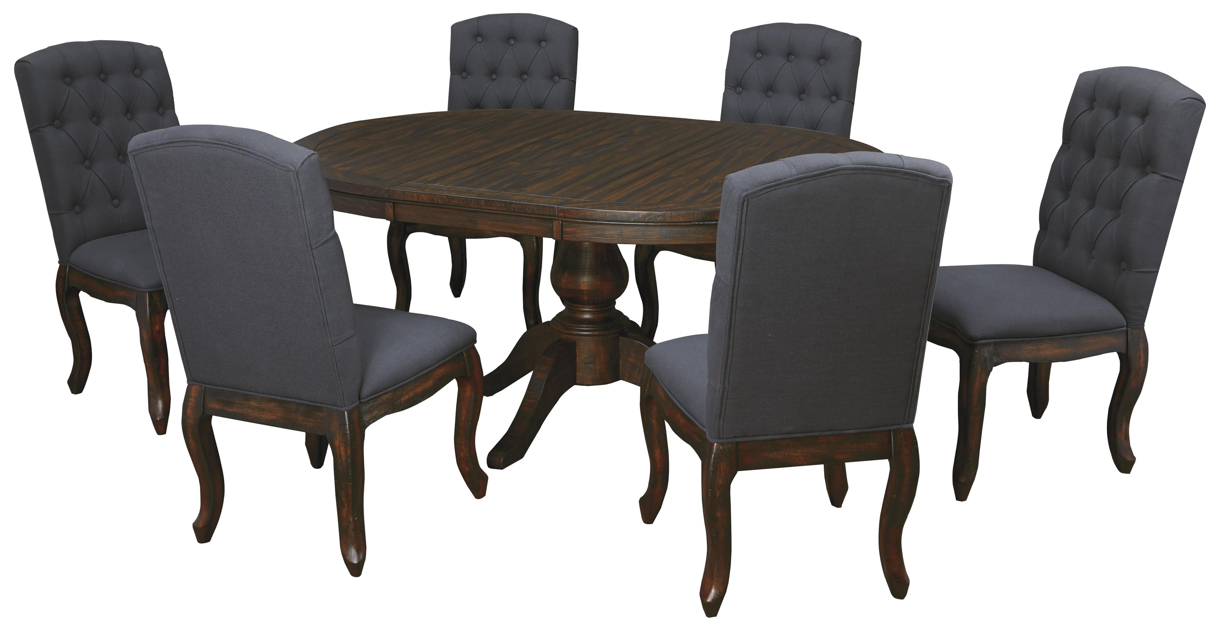 7 Piece Oval Dining Table Set With Upholstered Side Chairs Inside Newest Craftsman 9 Piece Extension Dining Sets With Uph Side Chairs (Gallery 20 of 25)