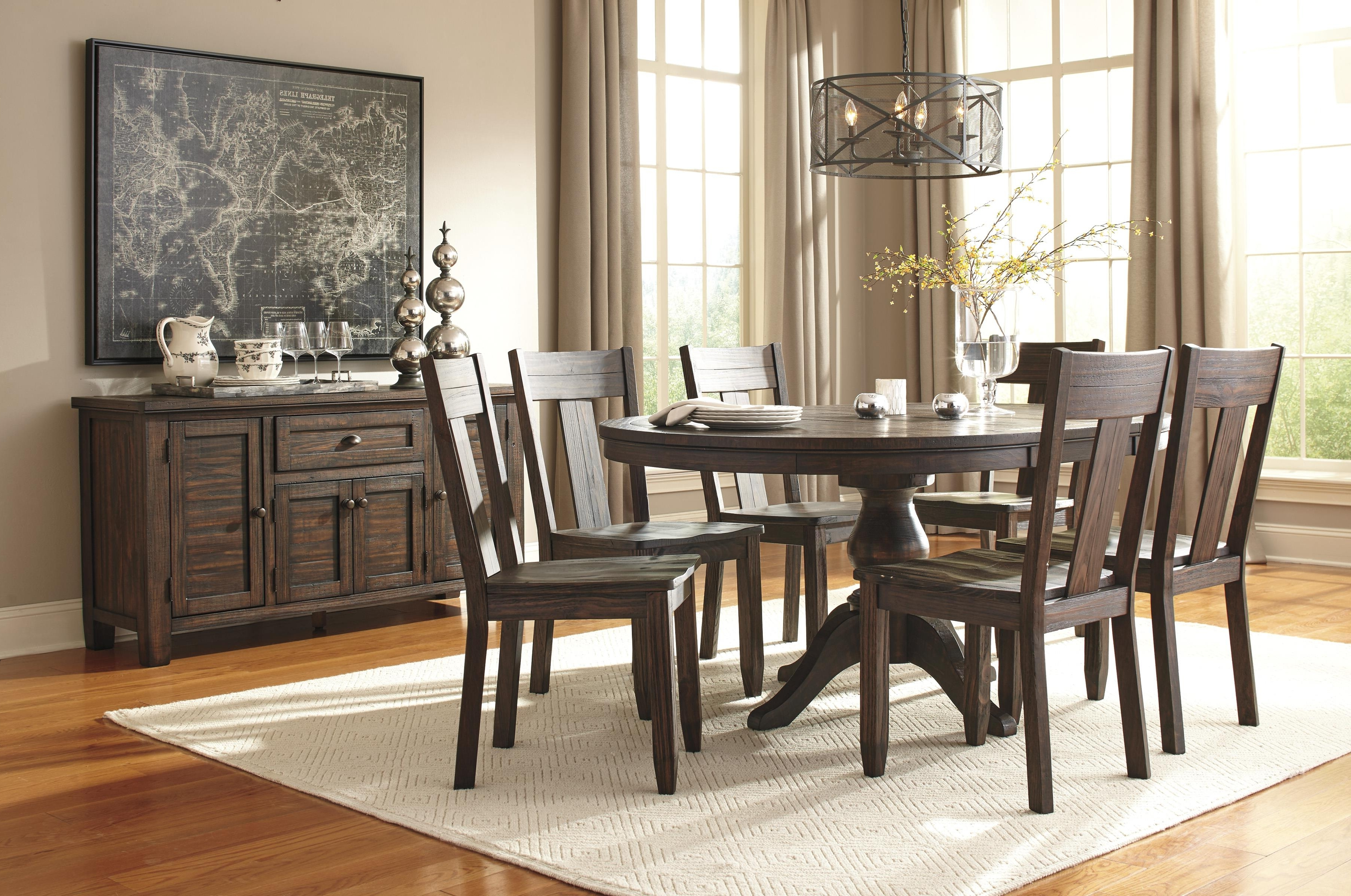 7 Piece Oval Dining Table Set With Wood Seat Side Chairs Inside Famous Craftsman 7 Piece Rectangle Extension Dining Sets With Side Chairs (View 8 of 25)