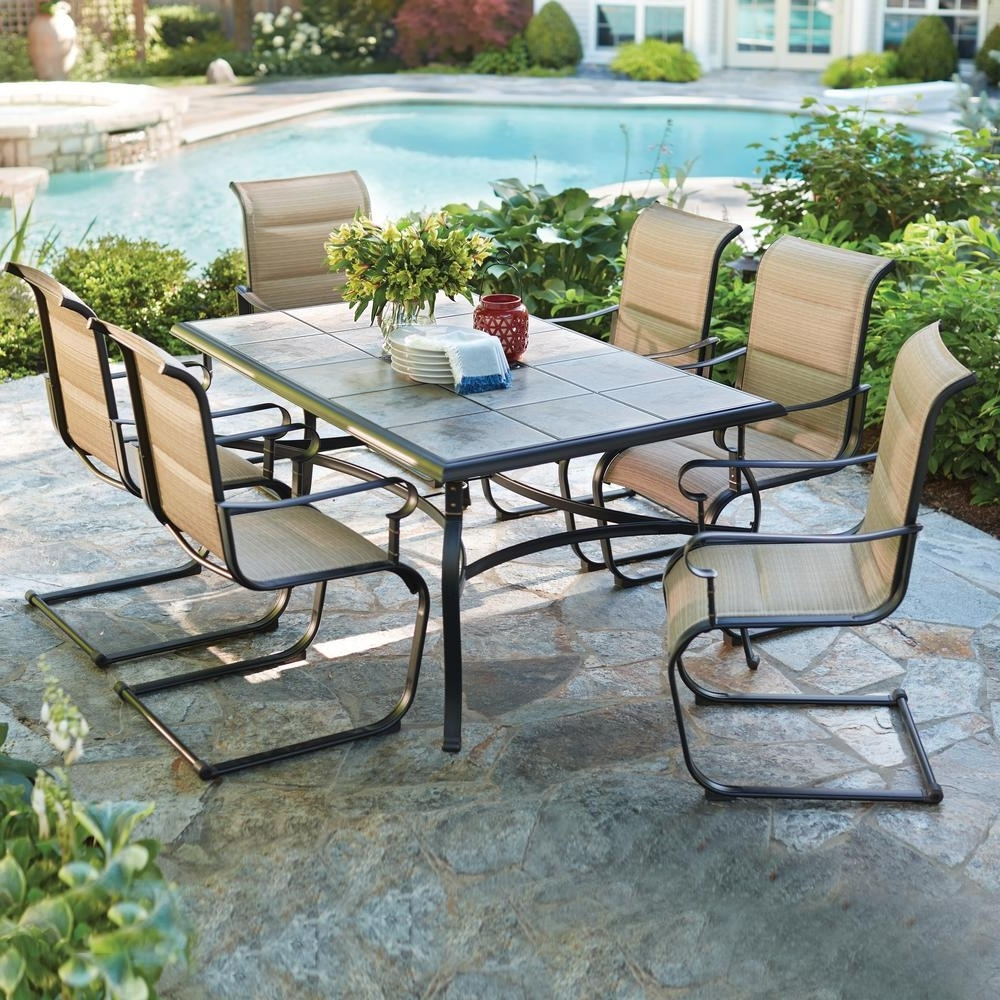 7 Piece Padded Sling Outdoor Dining Set Outdoor Patio Garden Within Most Recent Garden Dining Tables (View 3 of 25)