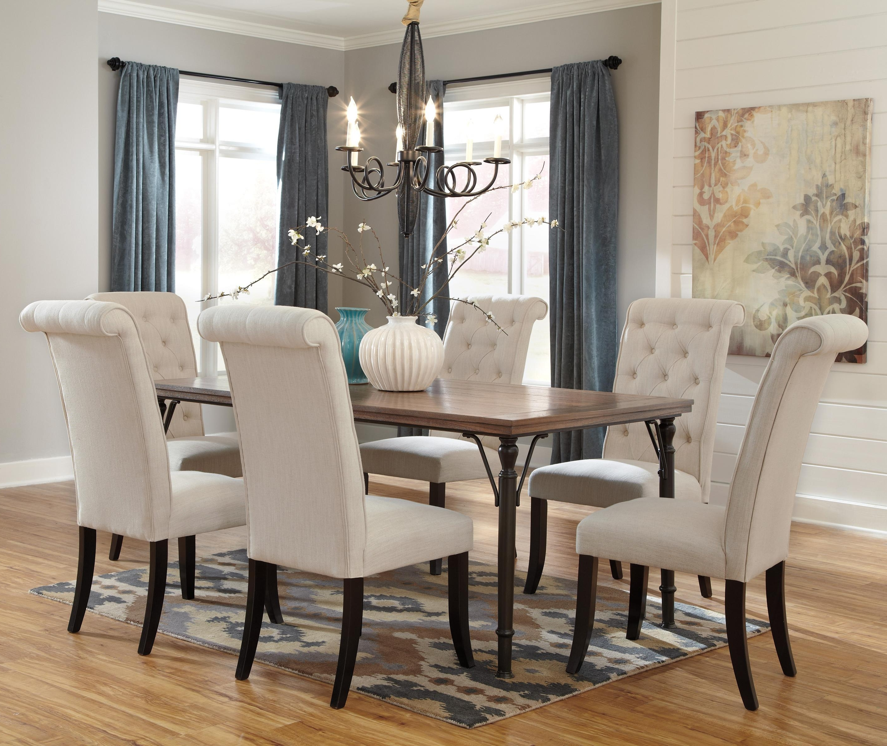 7 Piece Rectangular Dining Room Table Set W/ Wood Top & Metal Legs Intended For Current Parquet 7 Piece Dining Sets (View 15 of 25)