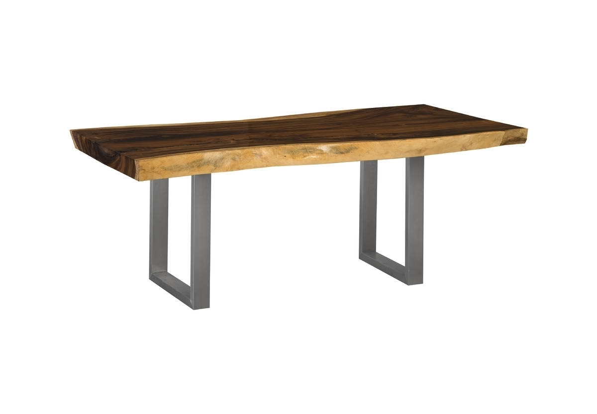 "76"" Long Dining Table Solid Chamcha Wood Top Brushed Stainless Steel Intended For Newest Brushed Steel Dining Tables (Gallery 2 of 25)"