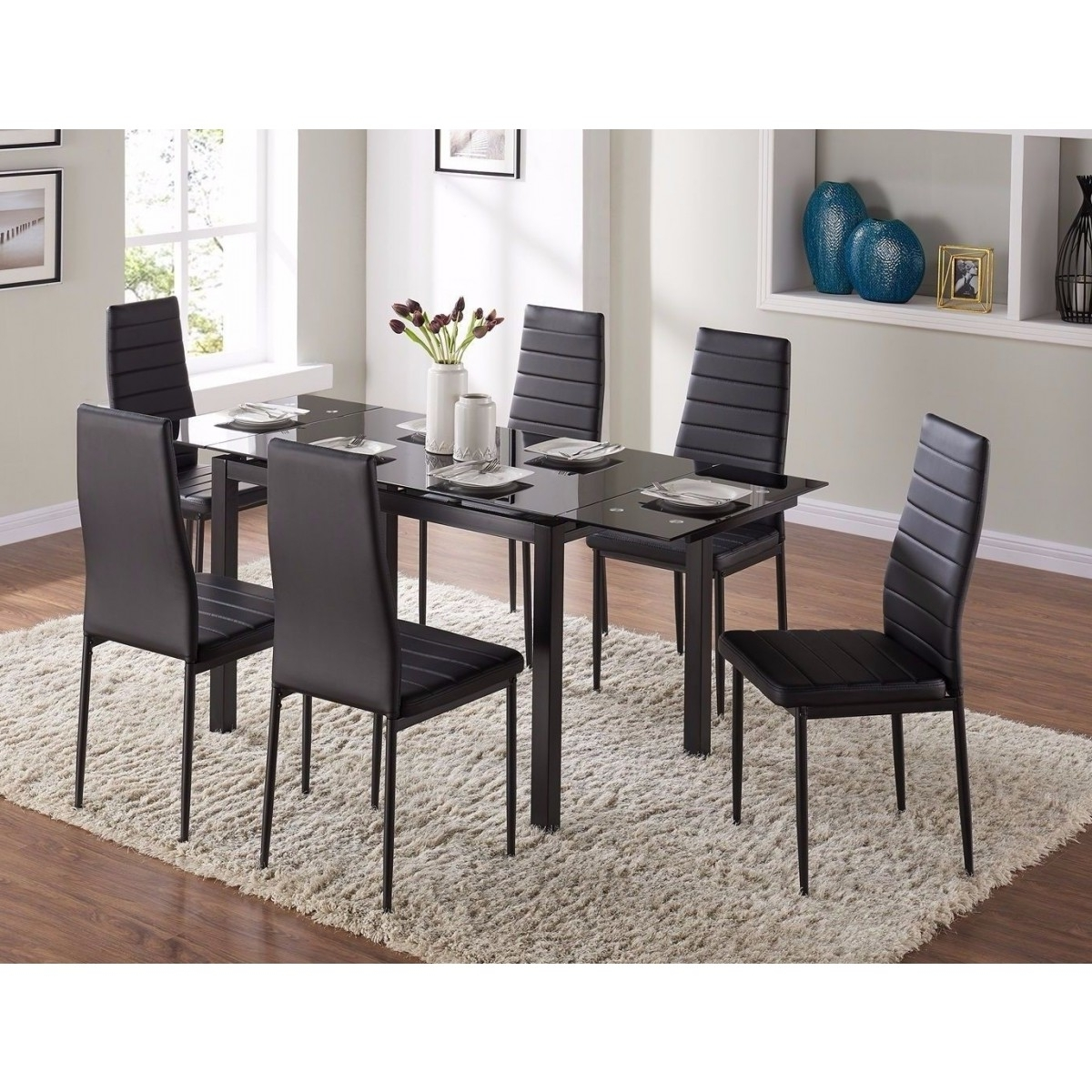 7Pc Extending Glass Dining Table & Black Faux Leather Chairs Set Intended For Preferred Glass Dining Tables And Leather Chairs (View 2 of 25)