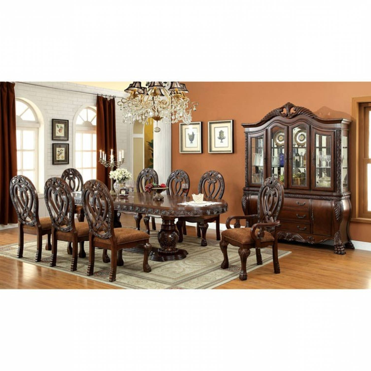 8 Chairs Dining Sets Pertaining To Current Wyndmere 7 Pc Set Dining Table And 8 Chairs Cherry (Gallery 25 of 25)