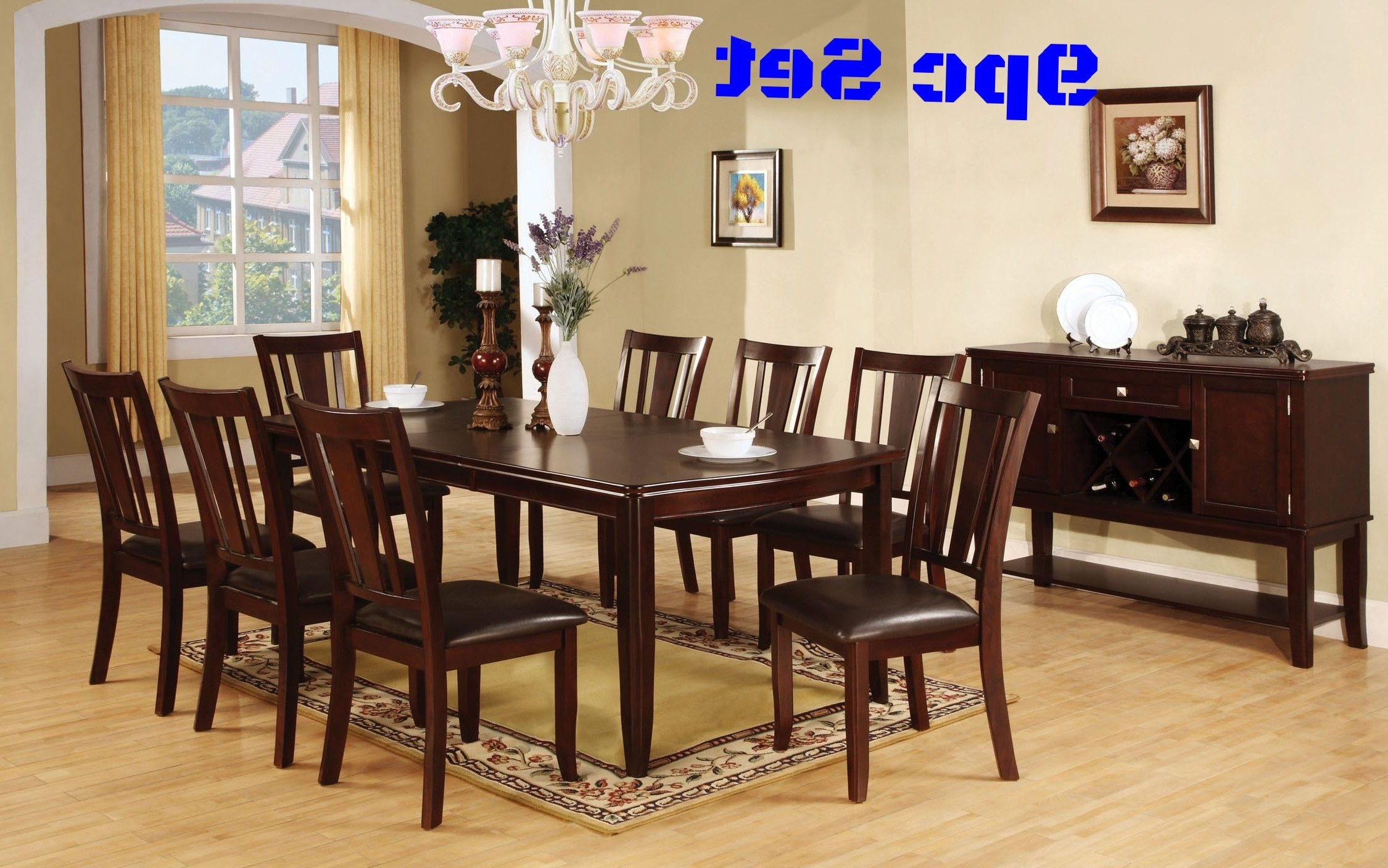8 Chairs Dining Sets With Popular Rustic Dining Table Set With 8 Chairs Expandable Leaf Living Room (Gallery 19 of 25)
