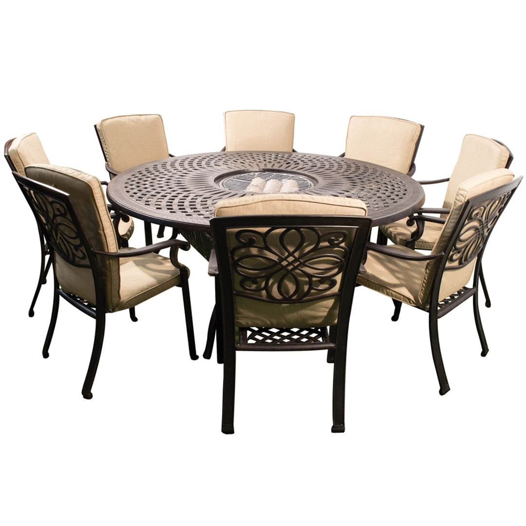 8 Chairs Dining Sets with Preferred Kensington Firepit & Grill 8 Chair Dining Set With 180Cm Round Table