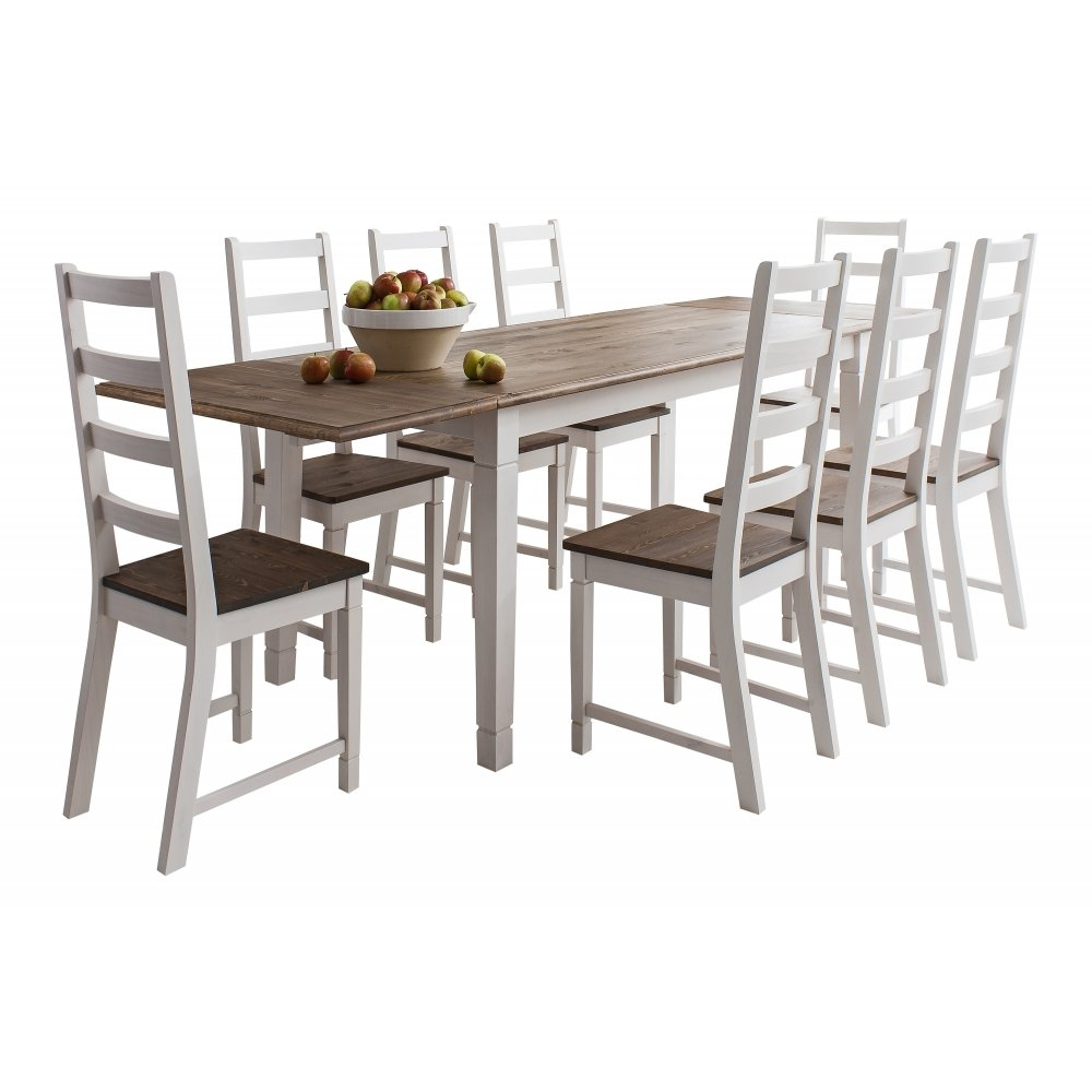 8 Chairs Dining Tables within Most Popular Canterbury White Dining Table With 8 Chairs