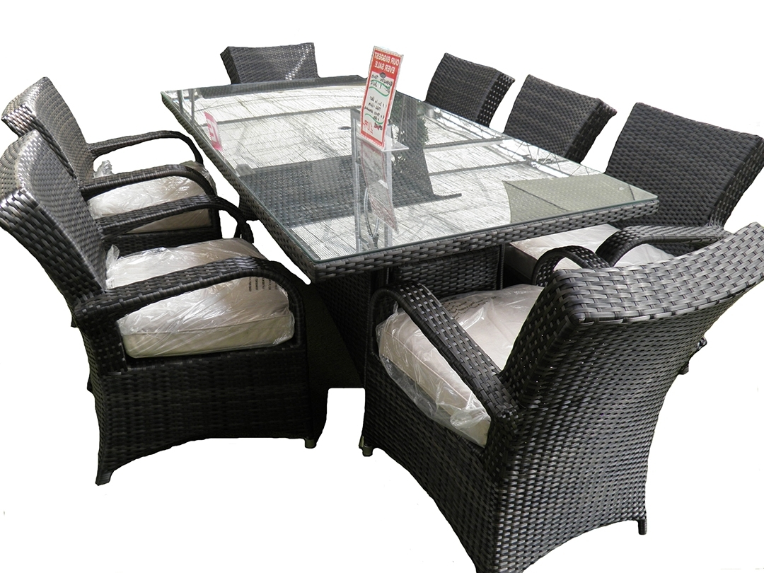 8 Seat Outdoor Cast Aluminium And Rattan Dining Sets inside Most Current 8 Seater Black Dining Tables