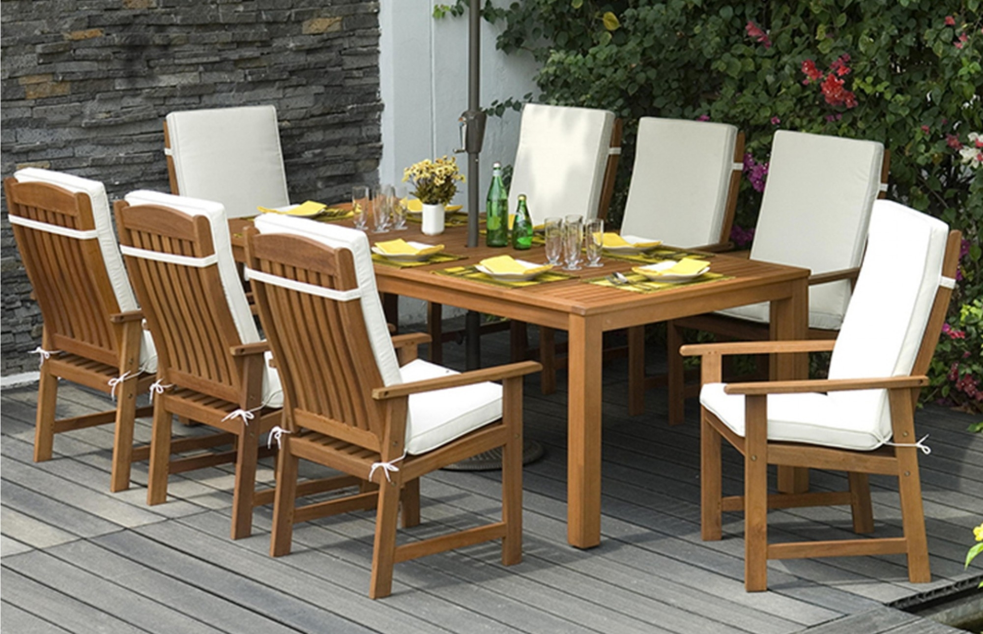 8 Seat Outdoor Dining Tables Regarding Widely Used Patio: Marvellous Wooden Patio Set Outdoor Furniture Wood Types (Gallery 5 of 25)