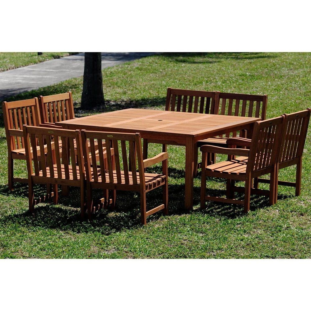 8 Seat Outdoor Dining Tables throughout Most Recent Amazonia Milano Deluxe 9-Piece Eucalyptus Wood Square Patio Dining