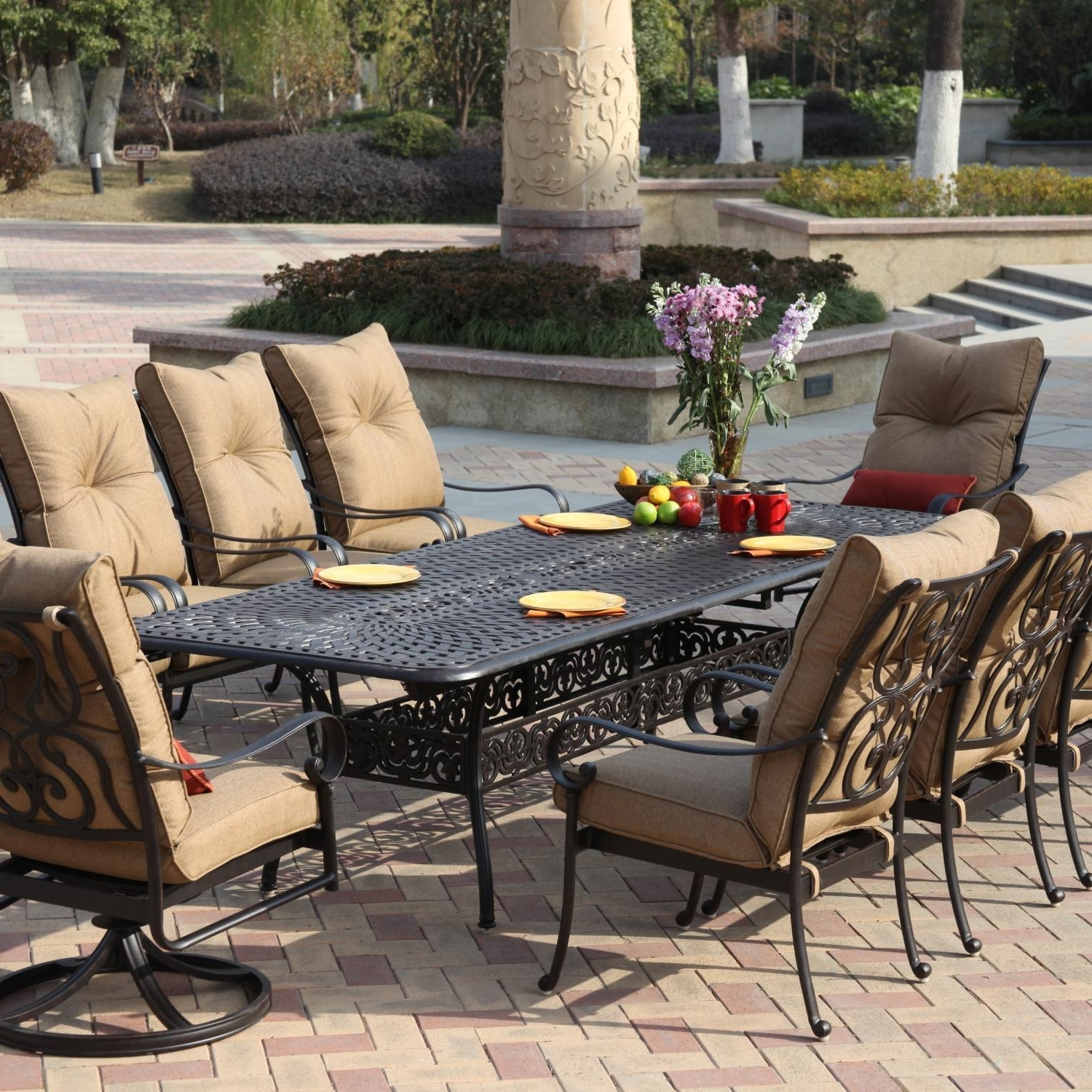 8 Seat Outdoor Dining Tables With Widely Used Santa Anita 11 Piece Cast Aluminum Patio Dining Set W/ 92 X 42 Inch (Gallery 14 of 25)