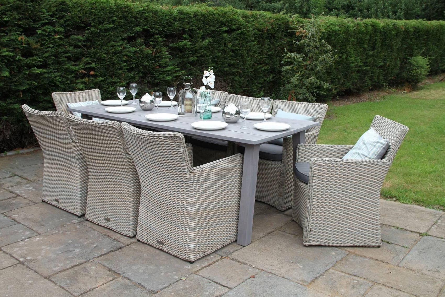 8 Seat Outdoor Dining Tables within Most Current Rattan Dining Set - Rectangular 8 Seater Garden Table - Grey