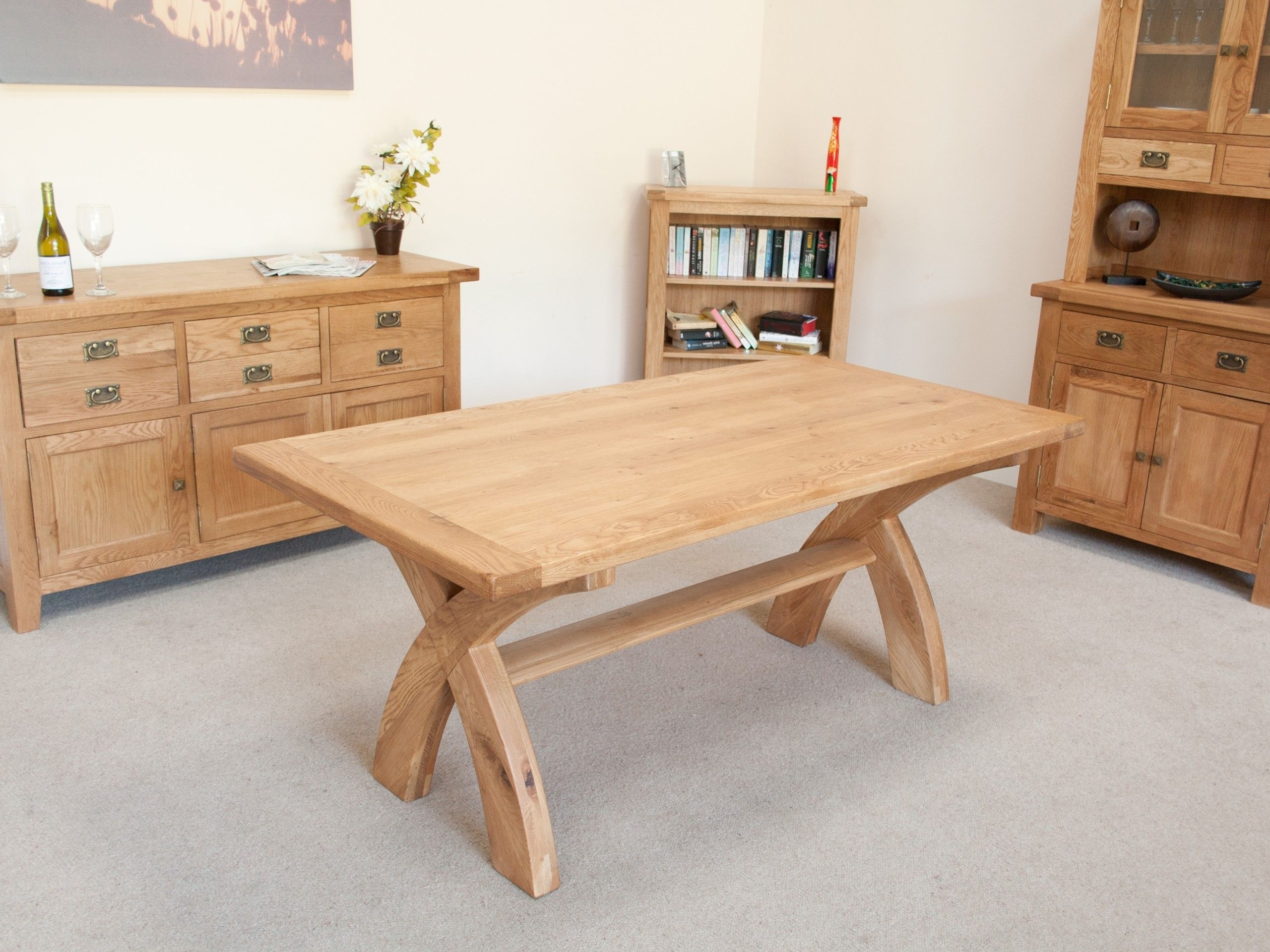 8 Seater Cross Leg Table intended for Most Recent 8 Seater Oak Dining Tables