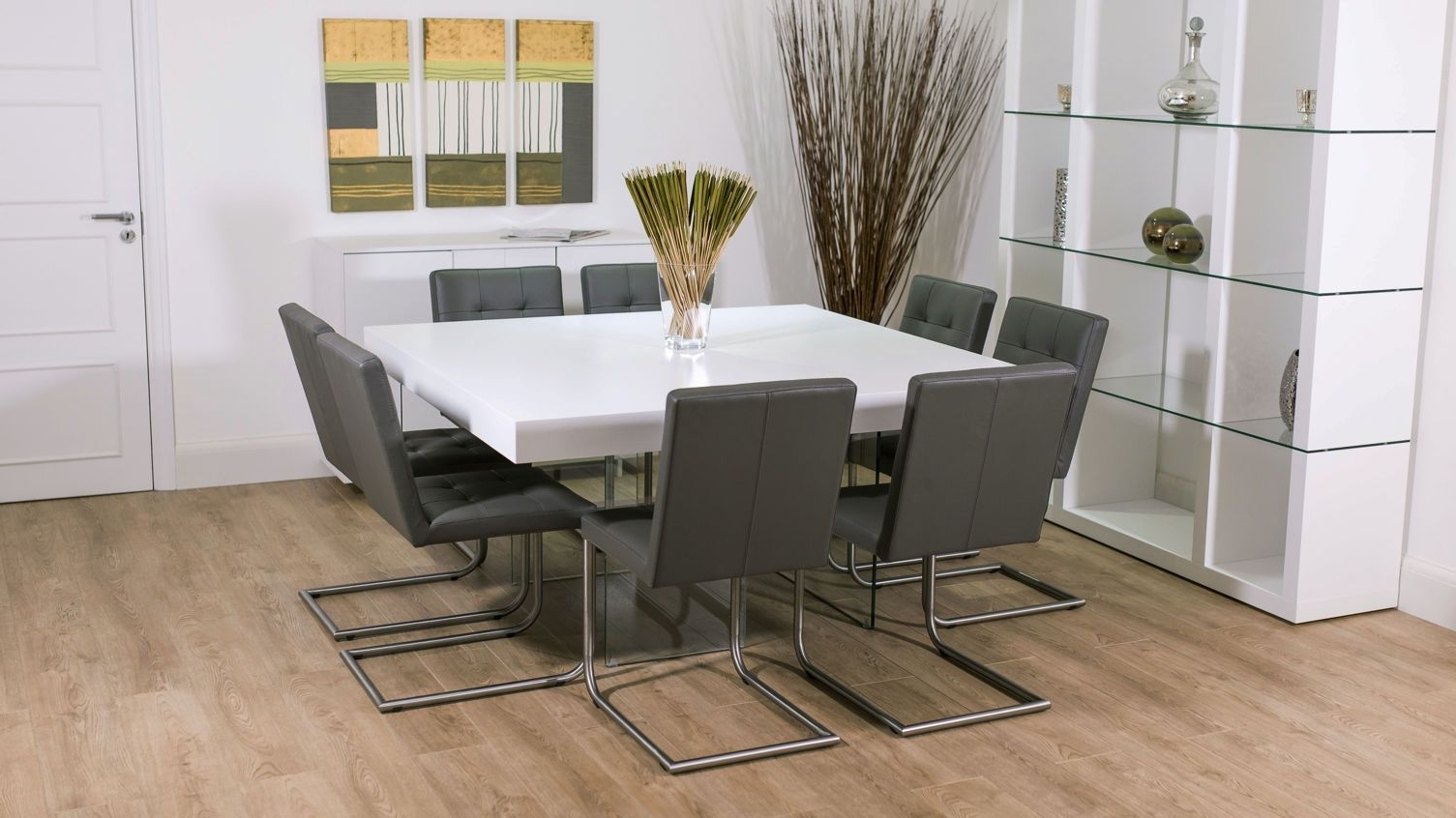 8 Seater Square Glass Dining Table