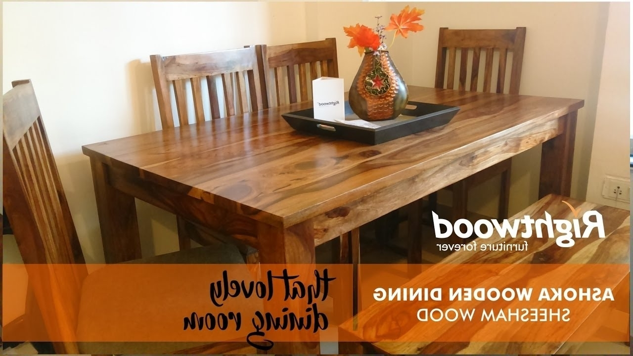 8 Seater Wooden Dining Table With Bench Designrightwood Furniture inside Famous Sheesham Dining Tables 8 Chairs