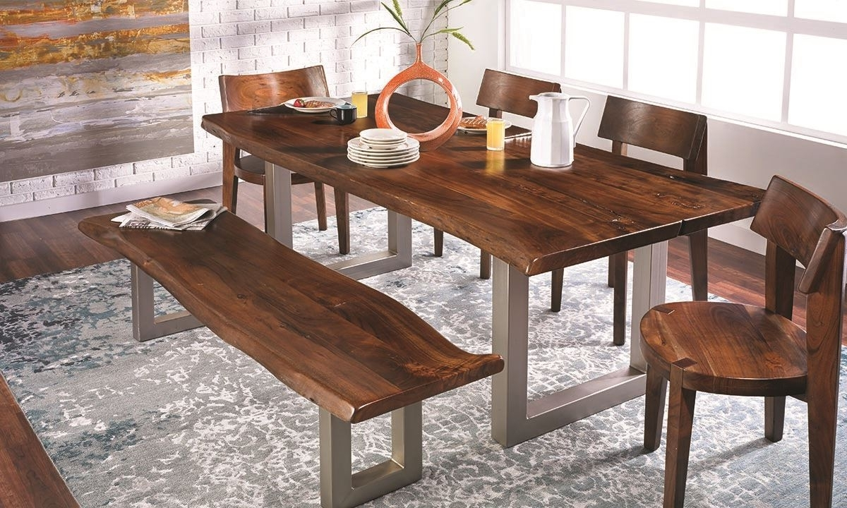 84-Inch Live Edge Acacia And Steel Dining Table