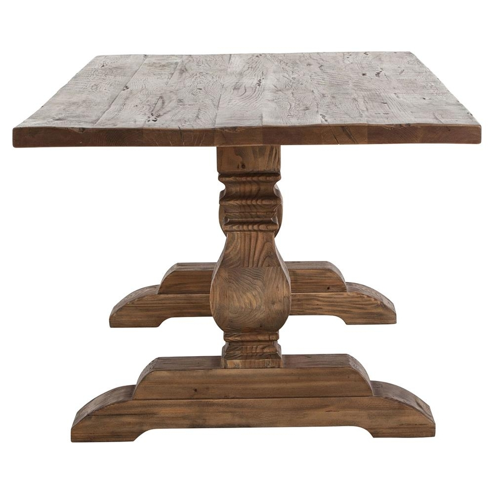 87 Inch Dining Tables in Most Current Arbois French Country Bleached Oak Trestle Dining Table - 87 Inch